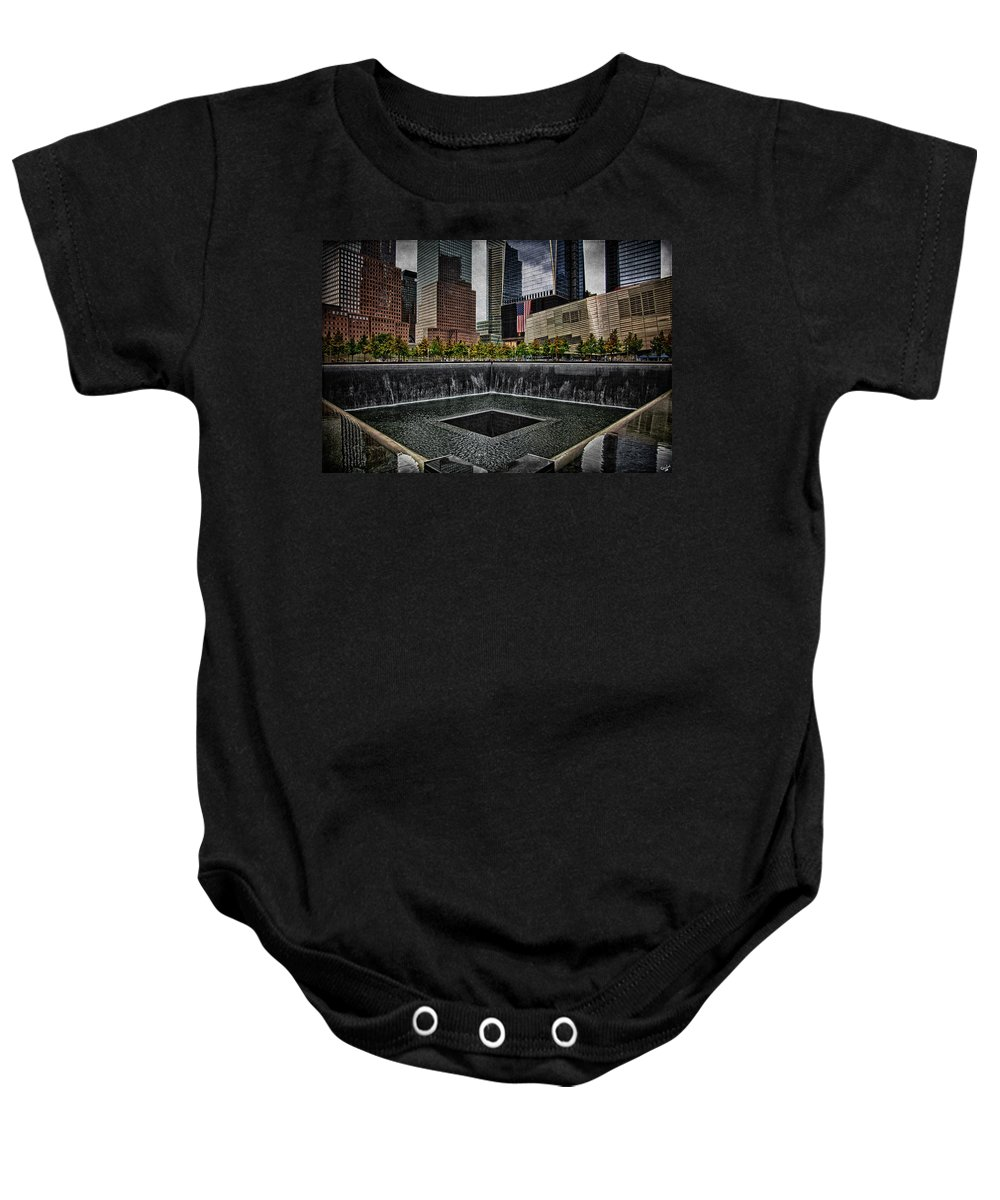 Memorial Baby Onesie featuring the photograph North Tower Memorial by Chris Lord