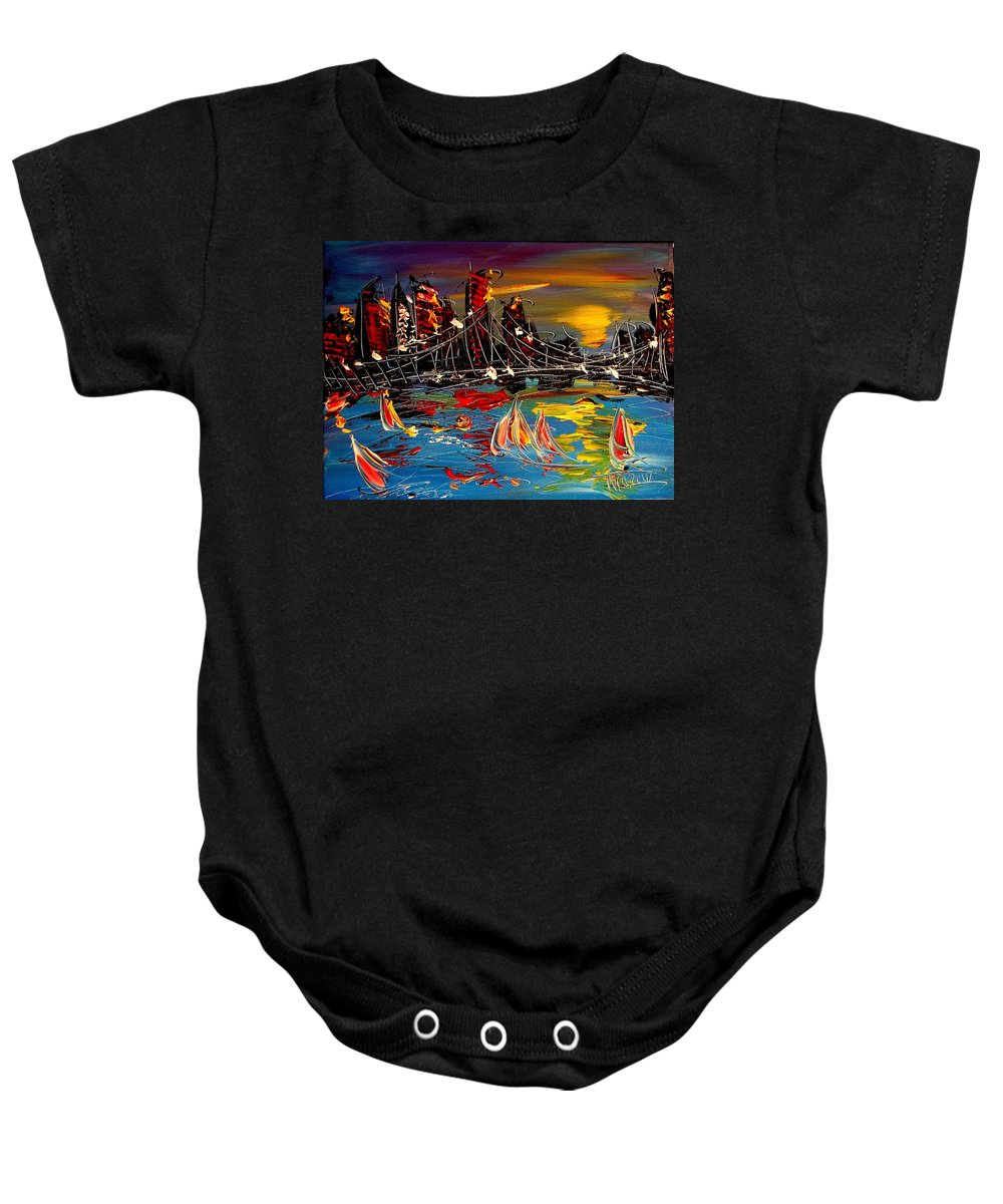 Baby Onesie featuring the painting Nyc Night by Mark Kazav
