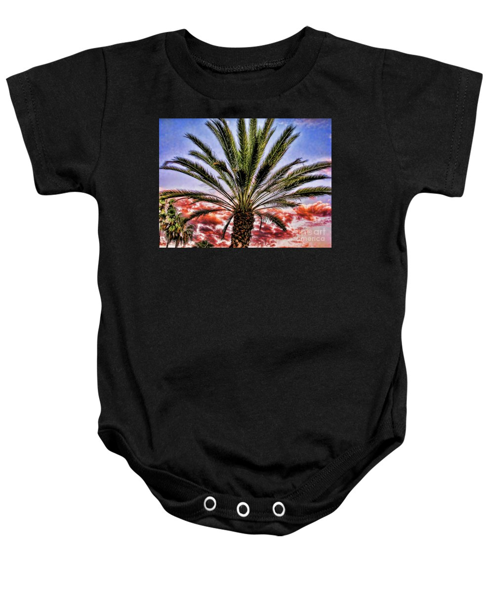 Oasis Baby Onesie featuring the photograph Oasis Palms by Mariola Bitner