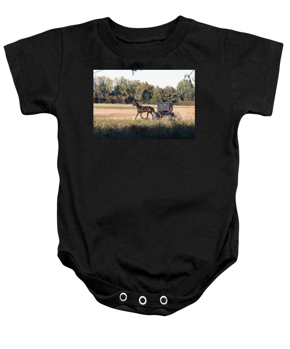 Amish Baby Onesie featuring the photograph October Road by David Arment