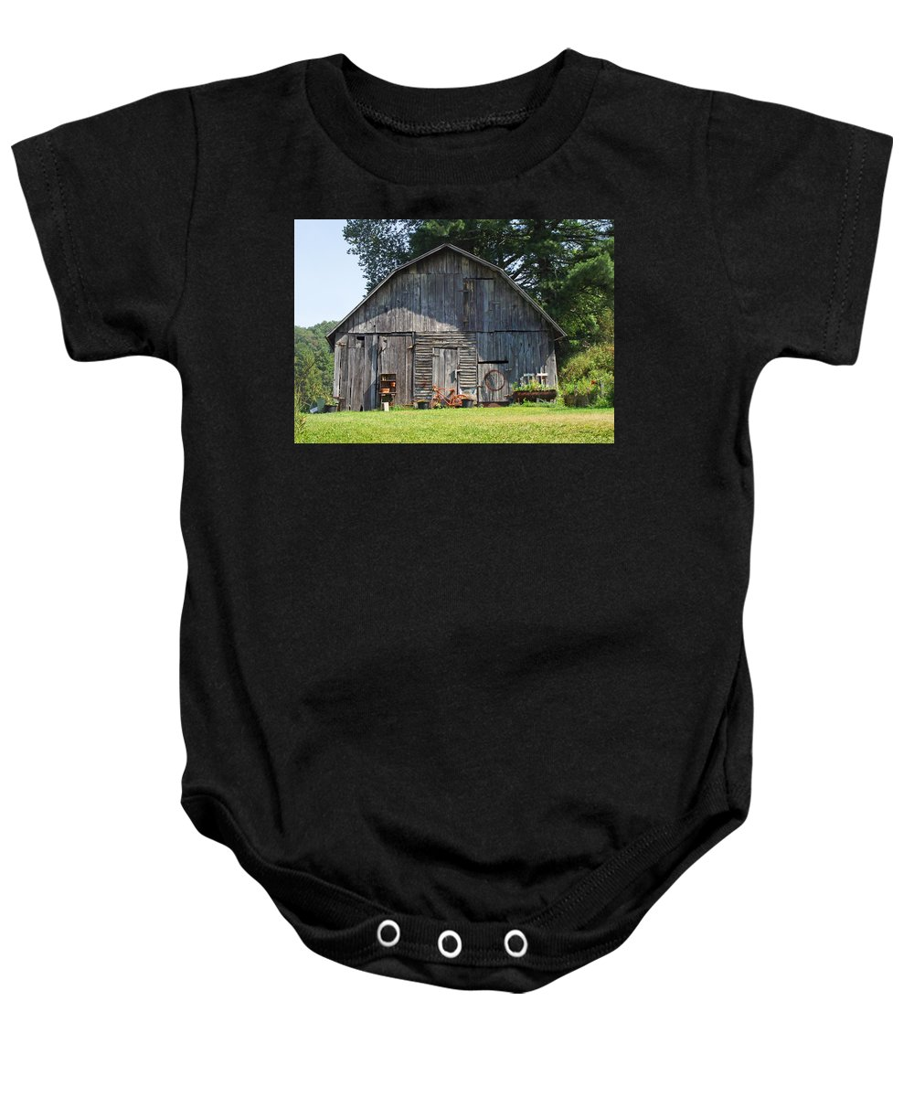 Barns Baby Onesie featuring the photograph Old Barn South Of Brevard by Duane McCullough
