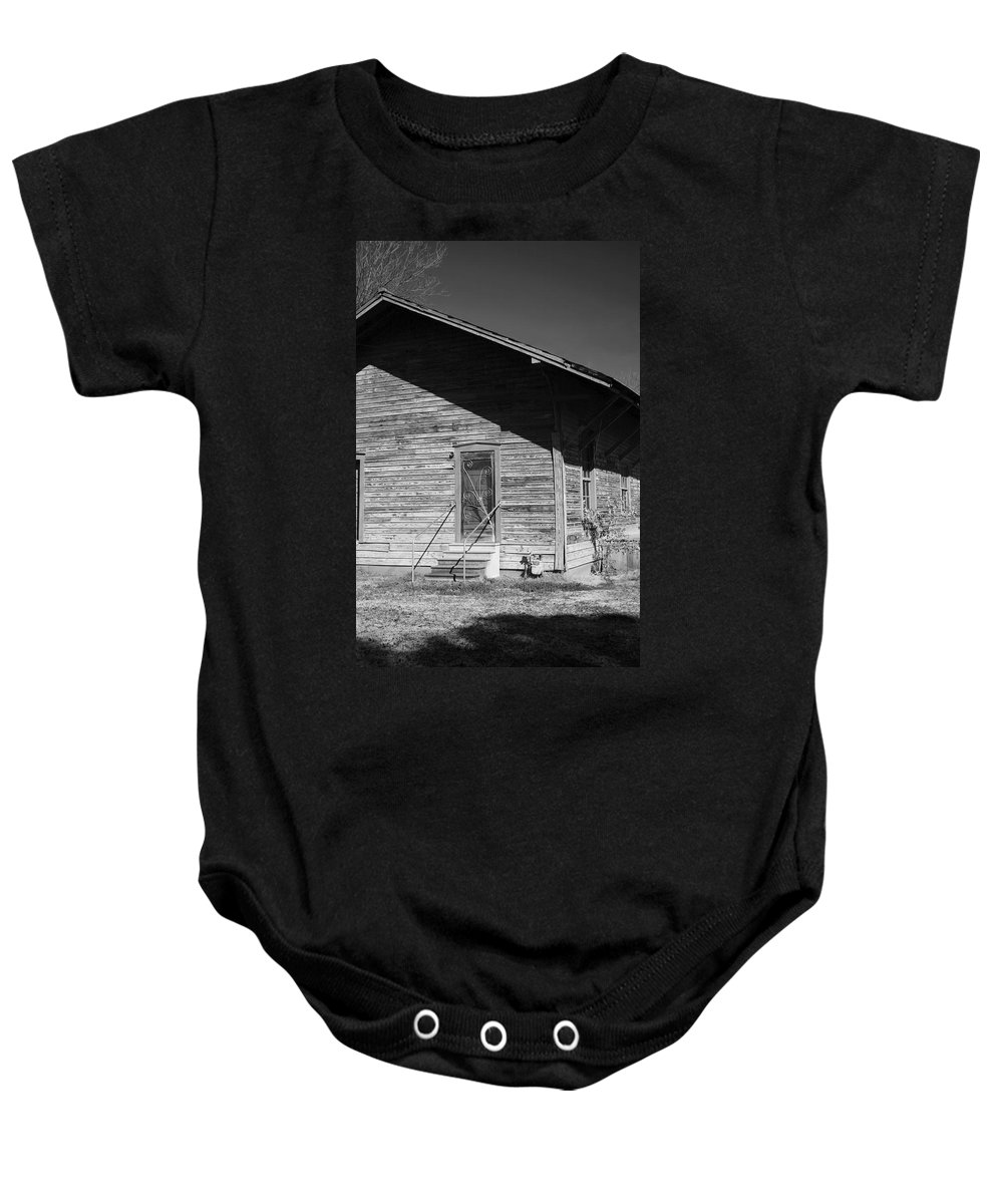 Belle Mina Baby Onesie featuring the photograph Old Belle Mina Railroad Station by Kathy Clark