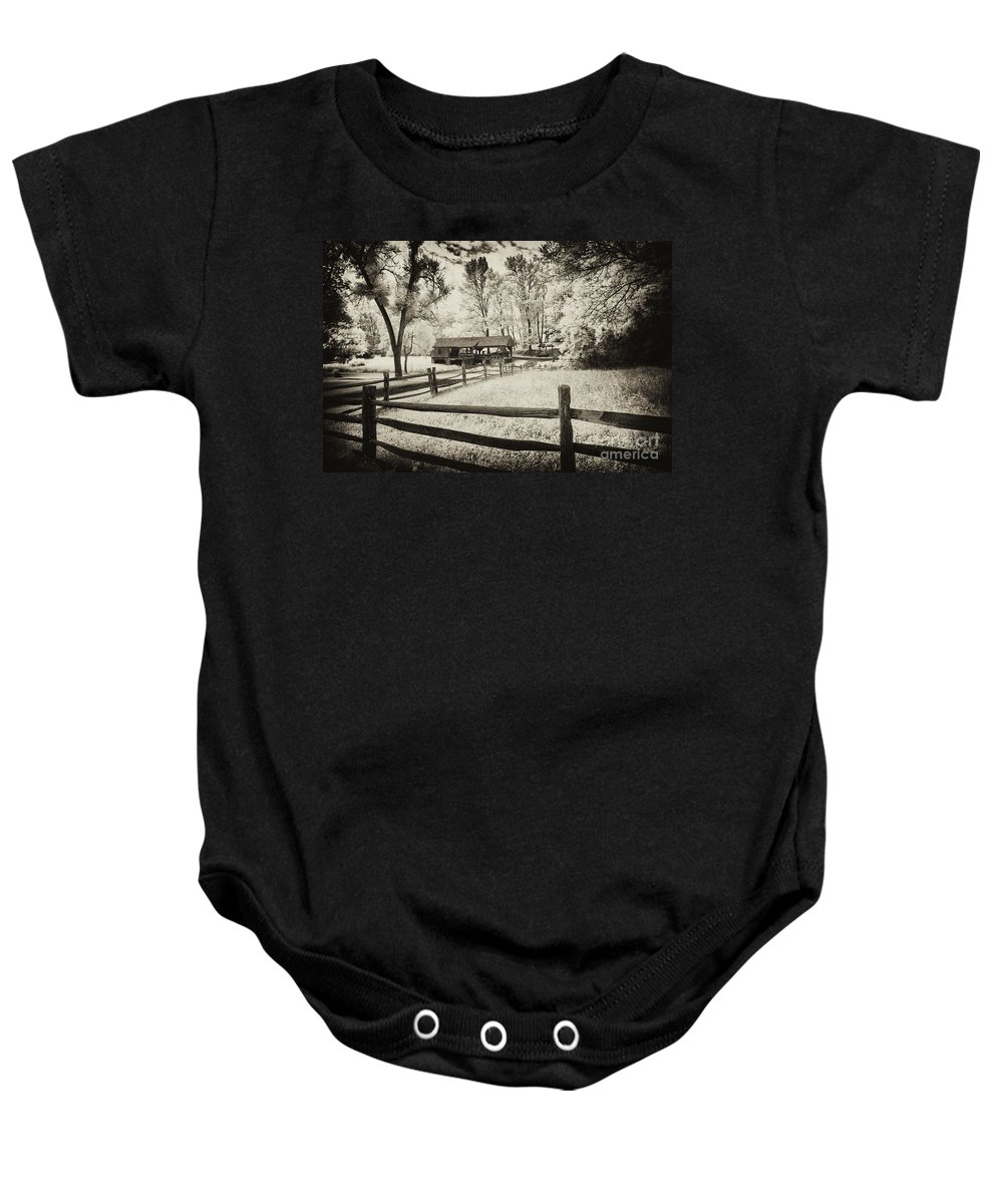Infrared Baby Onesie featuring the photograph Old Country Saw-mill - Toned by Paul W Faust - Impressions of Light