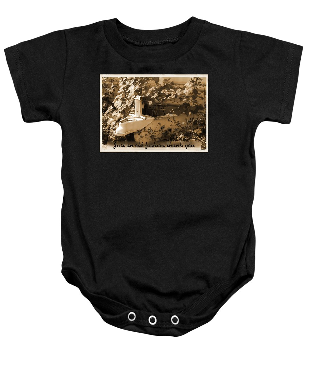 Greeting Card Baby Onesie featuring the photograph Old Fashion Thank You Card by Susan Kinney