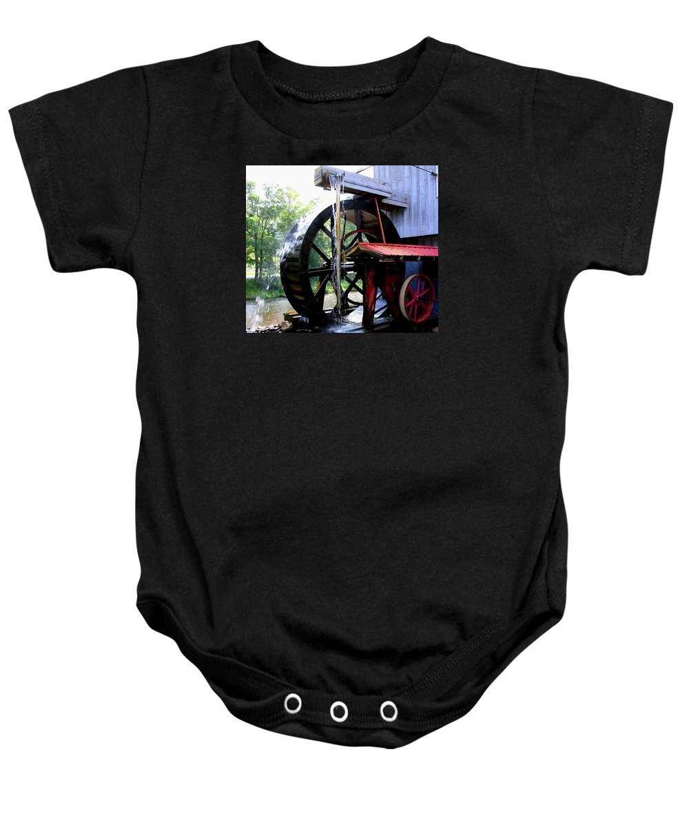 Mill Baby Onesie featuring the photograph An Old Mill by April Patterson