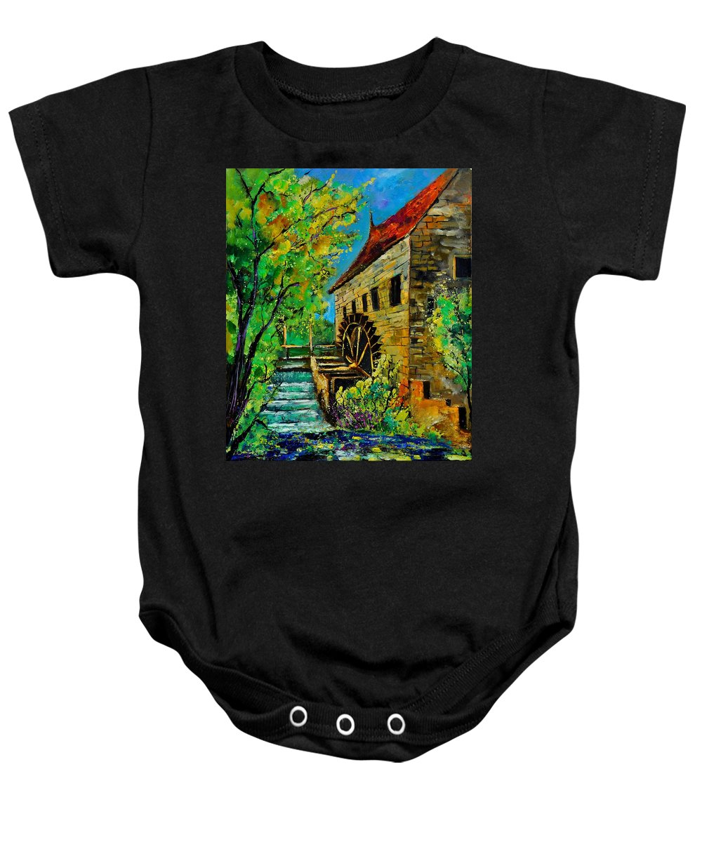 Landscape Baby Onesie featuring the painting Old Mill by Pol Ledent