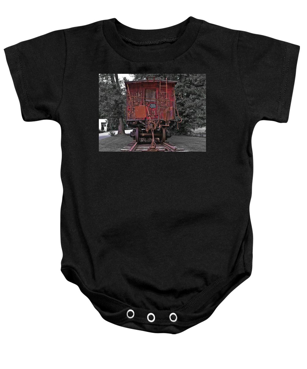 Virginia Baby Onesie featuring the photograph Old Red Train by Lori Coleman