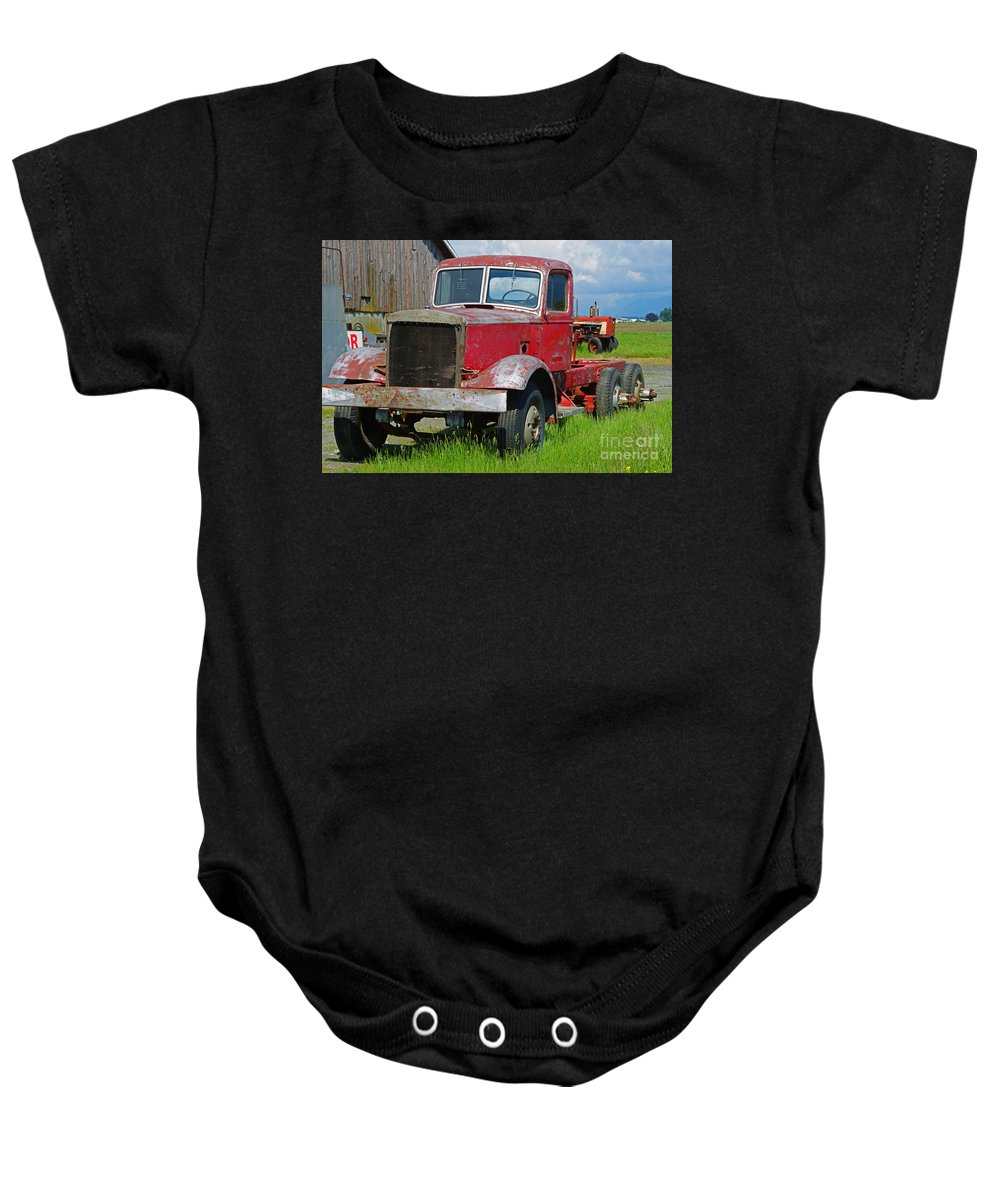 Trucks Baby Onesie featuring the photograph Old Rusted Semi-truck by Randy Harris
