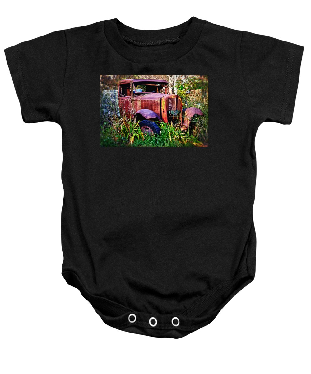 Truck Baby Onesie featuring the photograph Old Rusting Truck by Garry Gay
