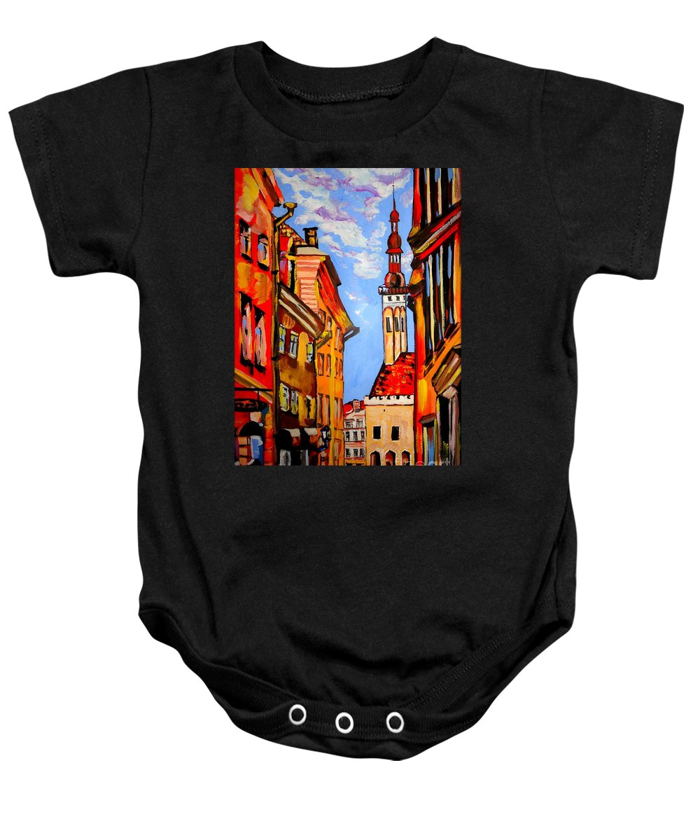 Old Town Baby Onesie featuring the painting Old Tallinn by Tatjana Andre