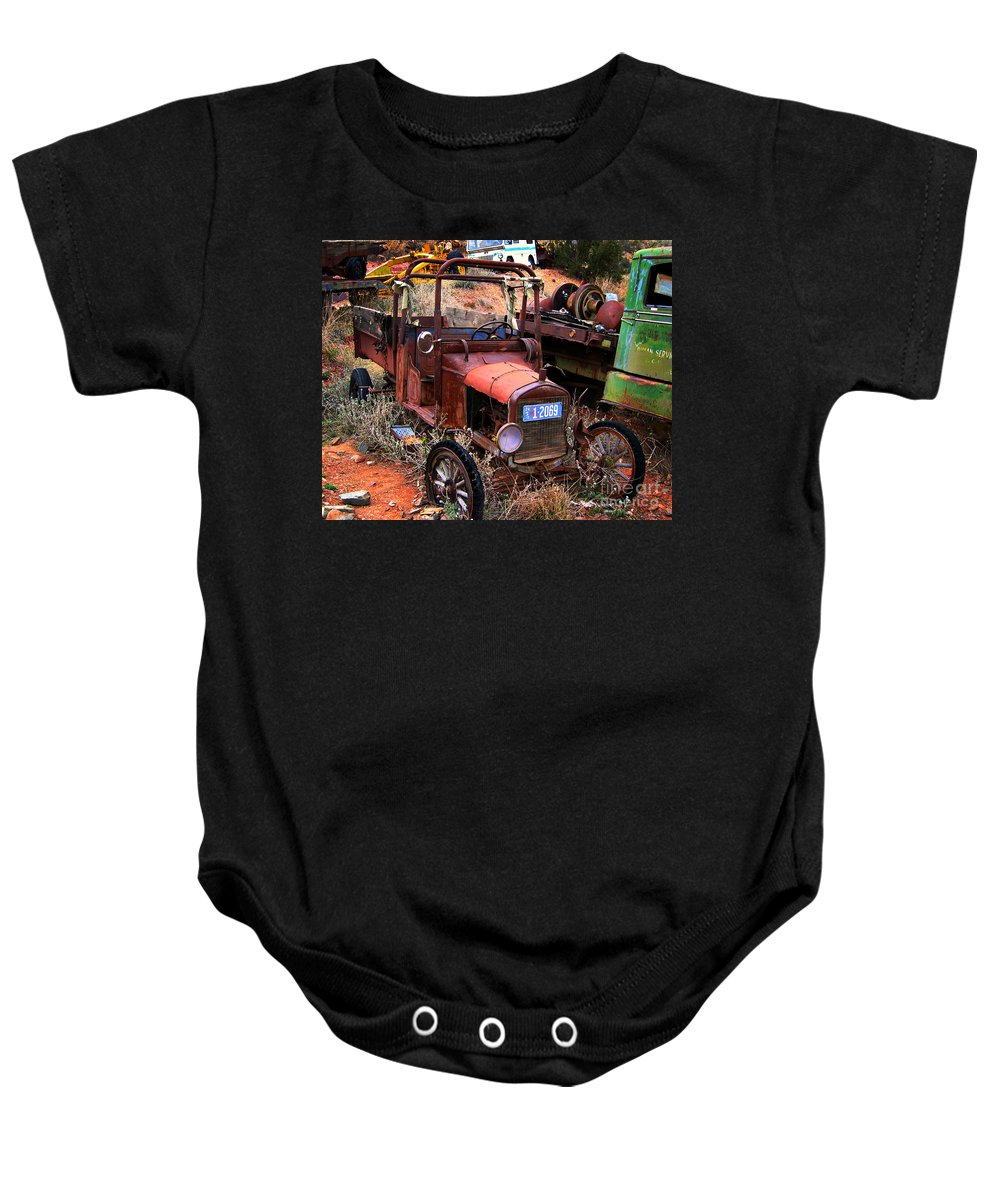 Car Baby Onesie featuring the photograph Old Times by Perry Webster