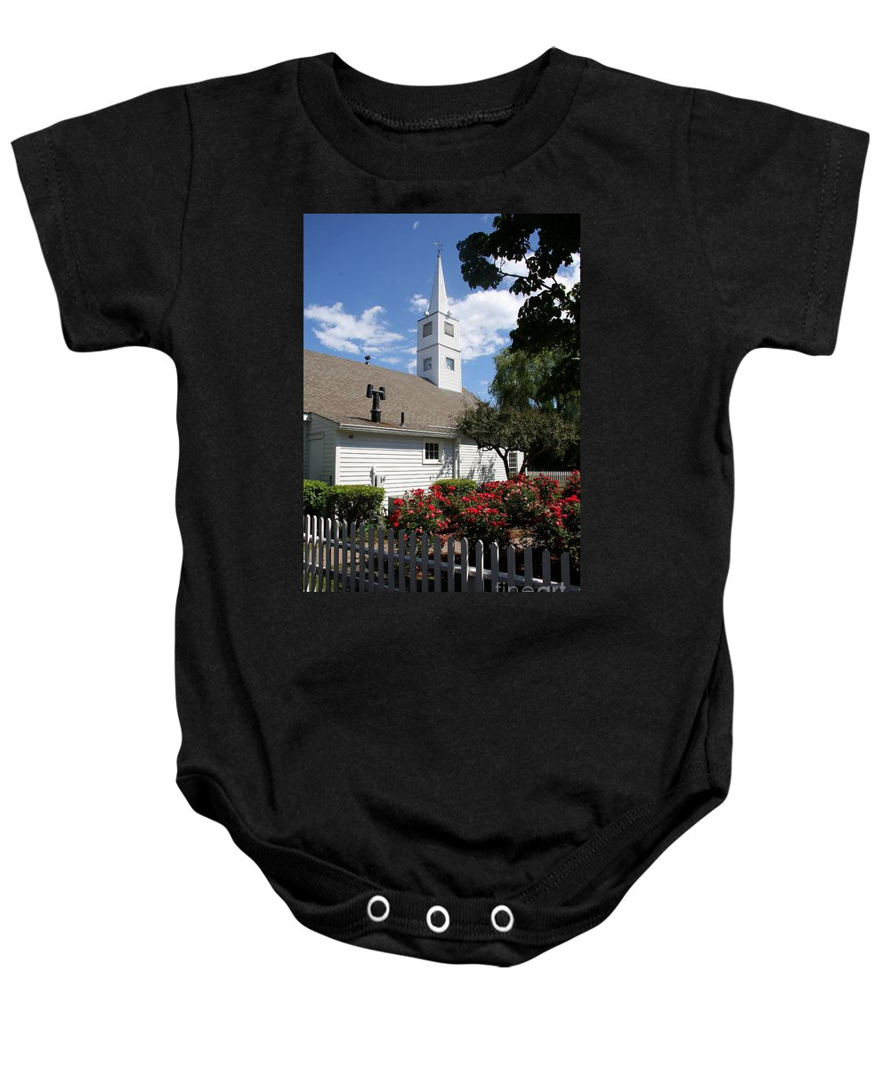 Old Town Baby Onesie featuring the photograph Old Town Mystic Church by Christiane Schulze Art And Photography