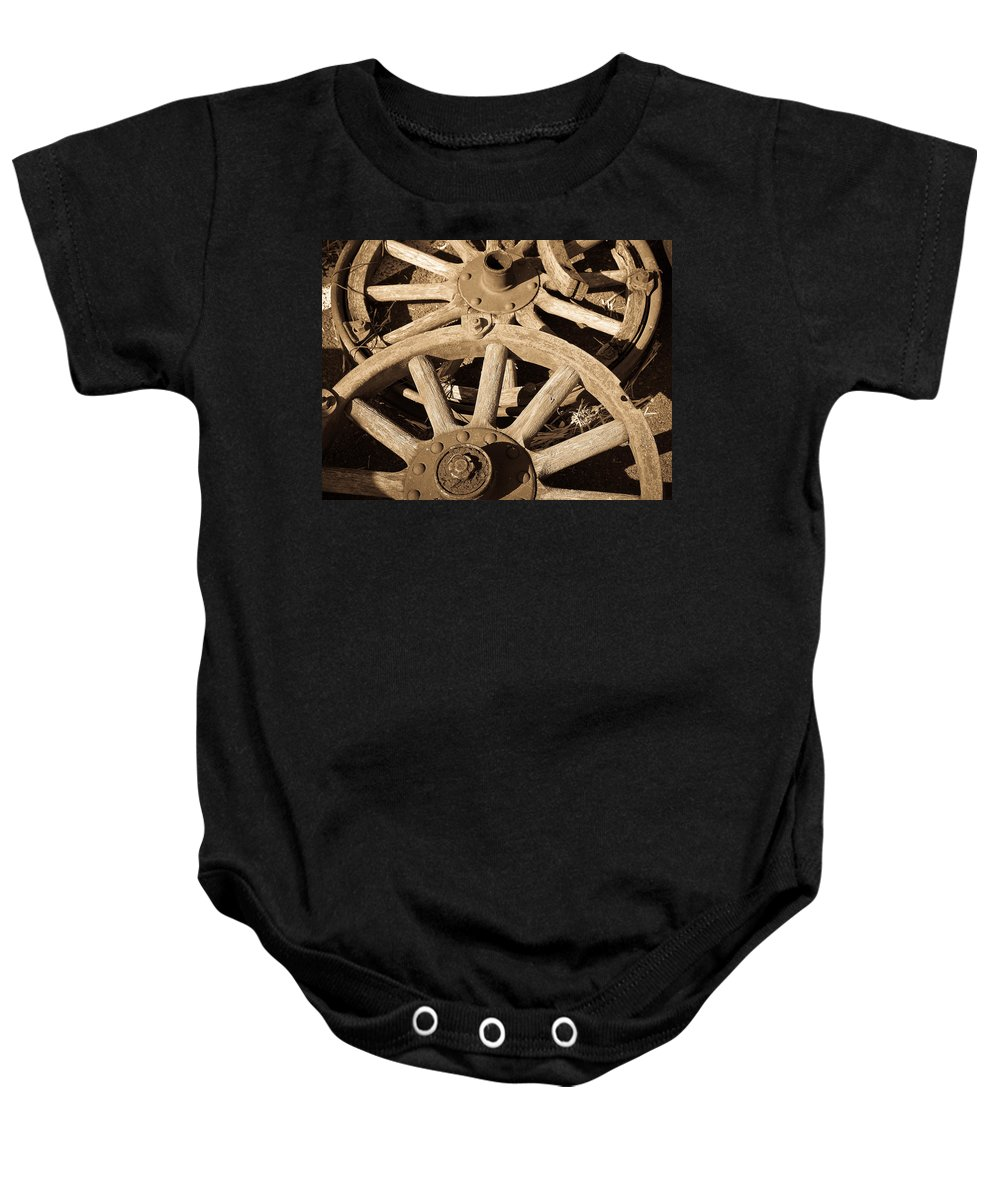 Wagon Baby Onesie featuring the photograph Old Wagon Wheels by Steve McKinzie