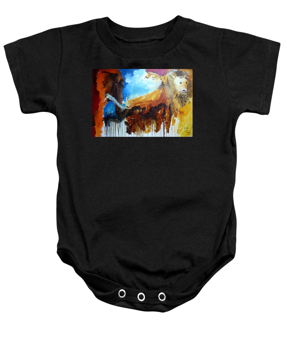 Lion Baby Onesie featuring the painting On Safari by Keith Thue