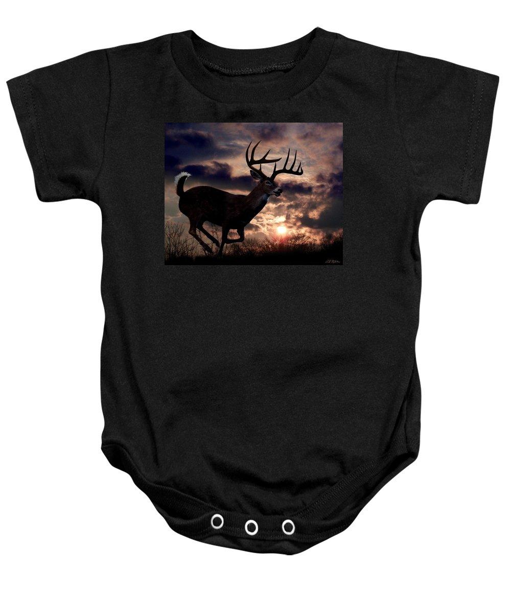 Deer Baby Onesie featuring the digital art On The Run by Bill Stephens