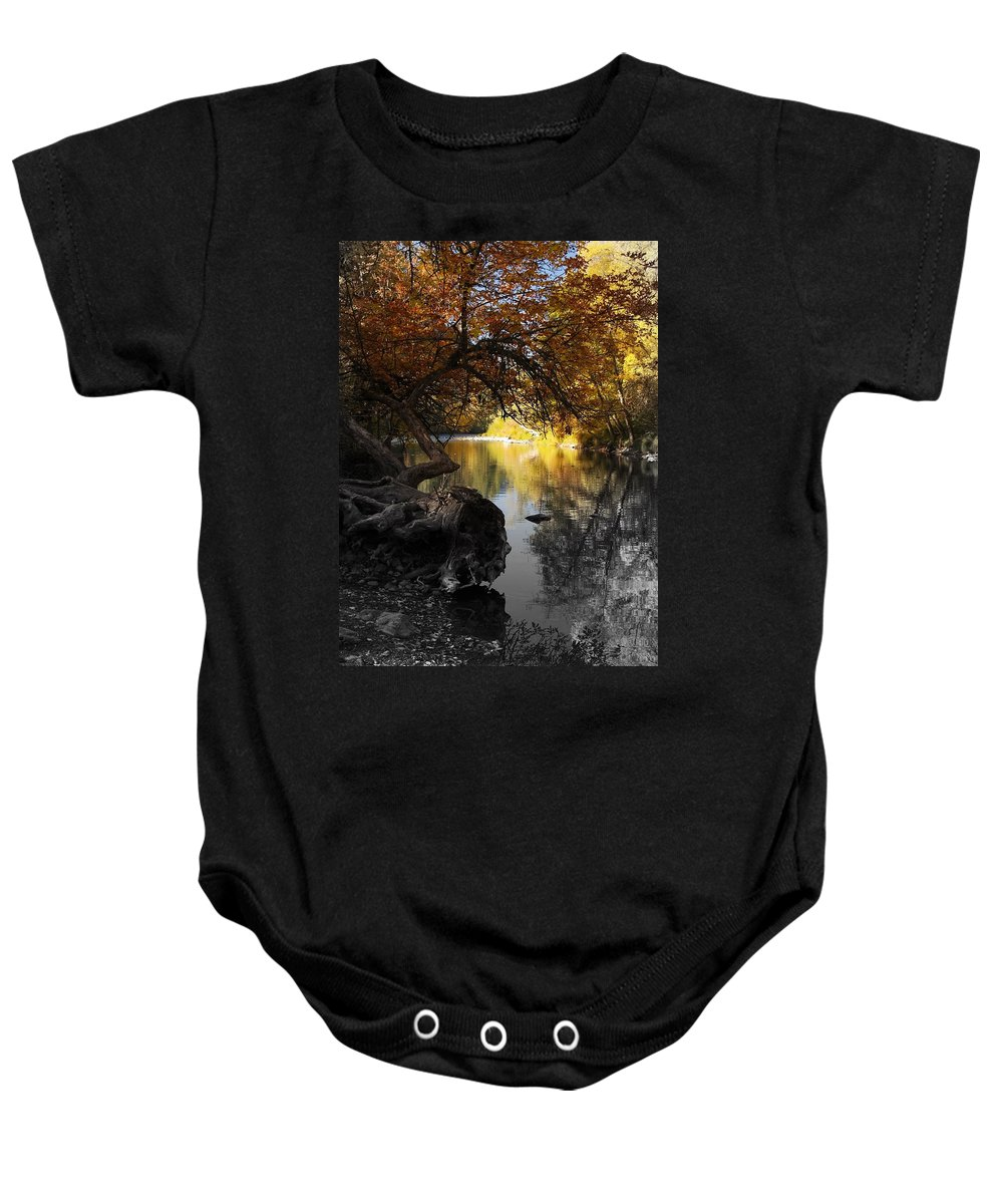 Tree Baby Onesie featuring the photograph One Last Glance by Teri Schuster