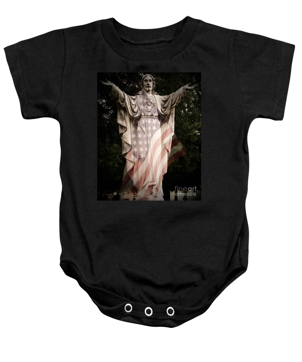 Statue Baby Onesie featuring the photograph One Nation Under God by Charleen Treasures