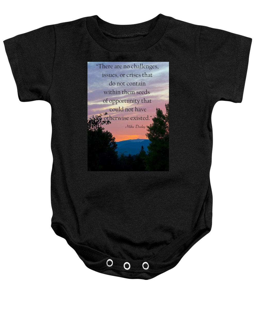 Sunset Baby Onesie featuring the photograph Opportunity by Dana Kern