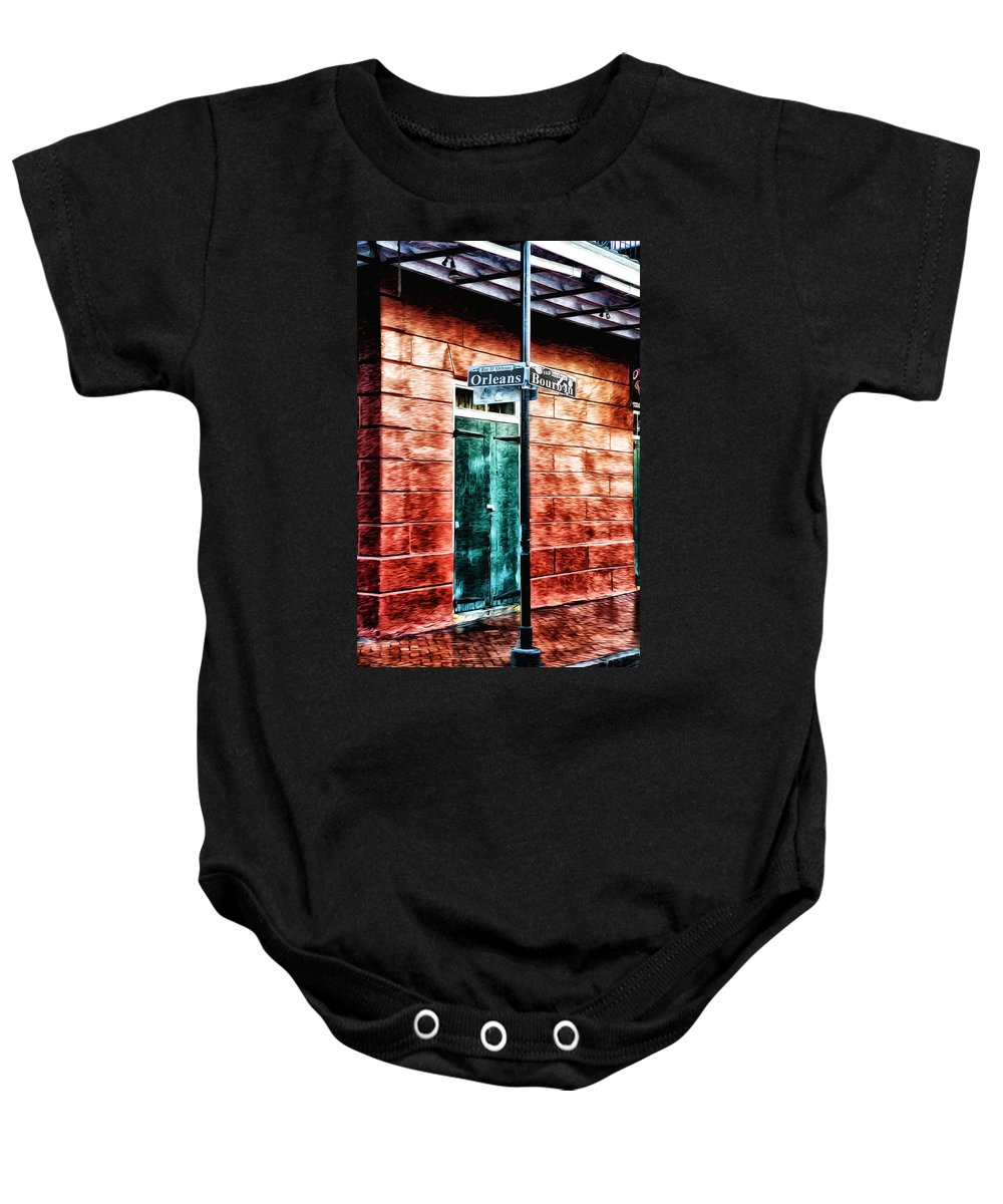 Orleans And Bourbon Streets Baby Onesie featuring the photograph Orleans And Bourbon Streets by Bill Cannon