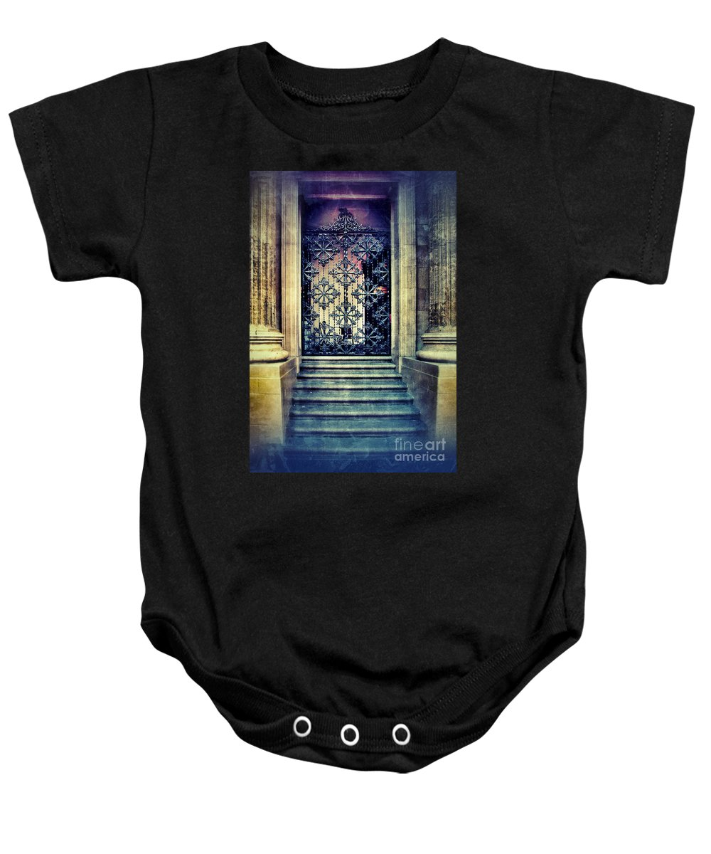 Door Baby Onesie featuring the photograph Ornate Entrance Gate by Jill Battaglia