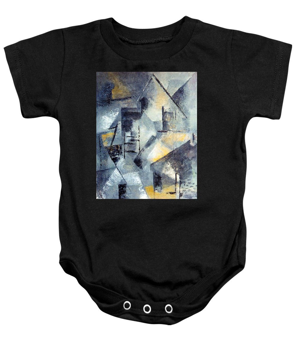 Abtract Of Roof Tops Baby Onesie featuring the painting Our Town by Betty Pieper