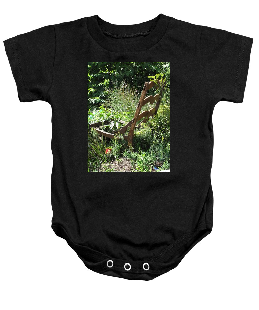 Chair Baby Onesie featuring the photograph Overgrown Chair by Michele Nelson