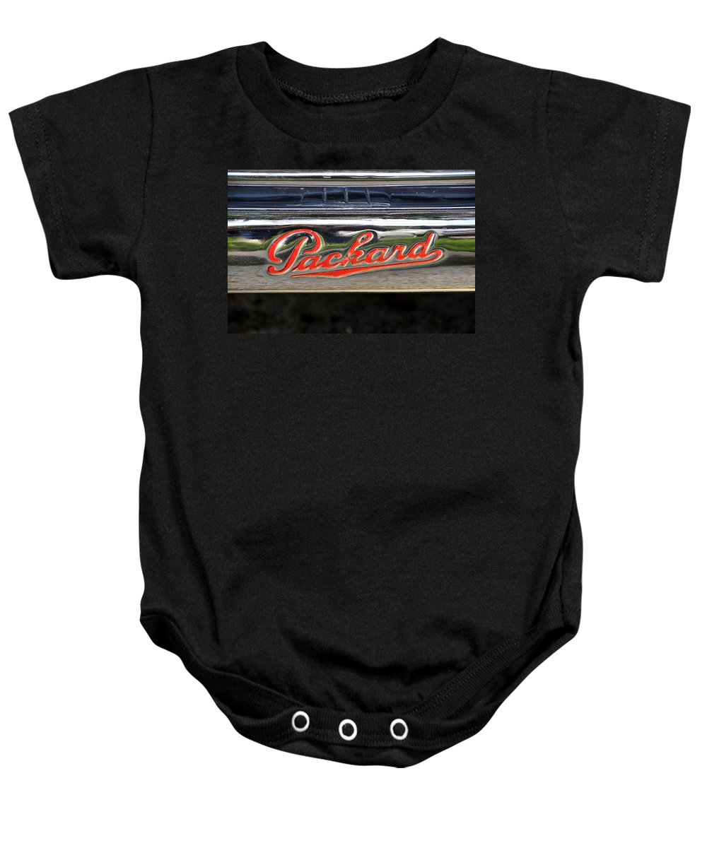 Fine Art Photography Baby Onesie featuring the photograph Packard Name Plate by David Lee Thompson