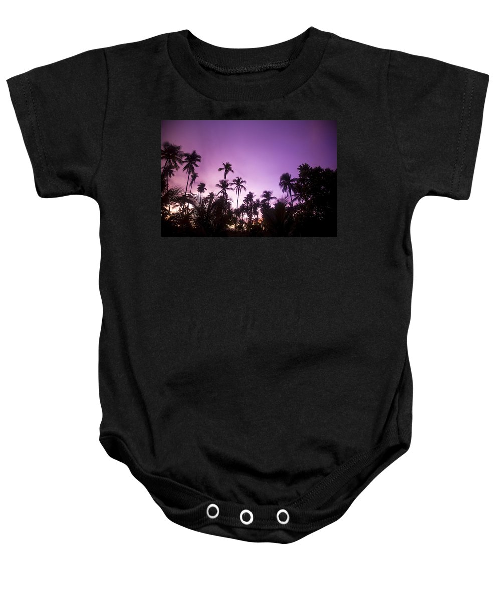 Color Image Baby Onesie featuring the photograph Palm Trees At Dusk, Malaysia, Southeast by Stuart Westmorland