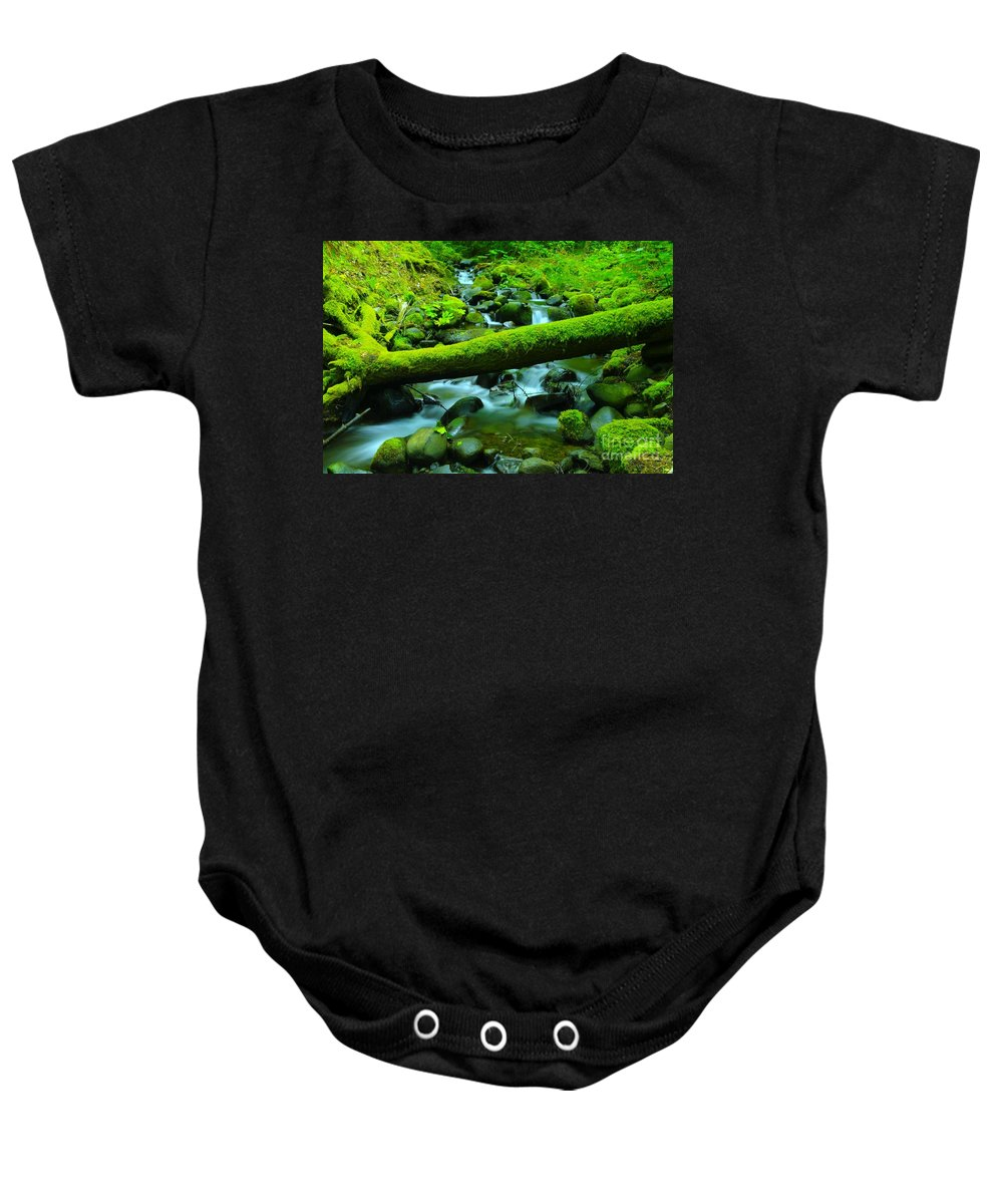Water Baby Onesie featuring the photograph Paradise Of Mossy Logs And Slow Water  by Jeff Swan