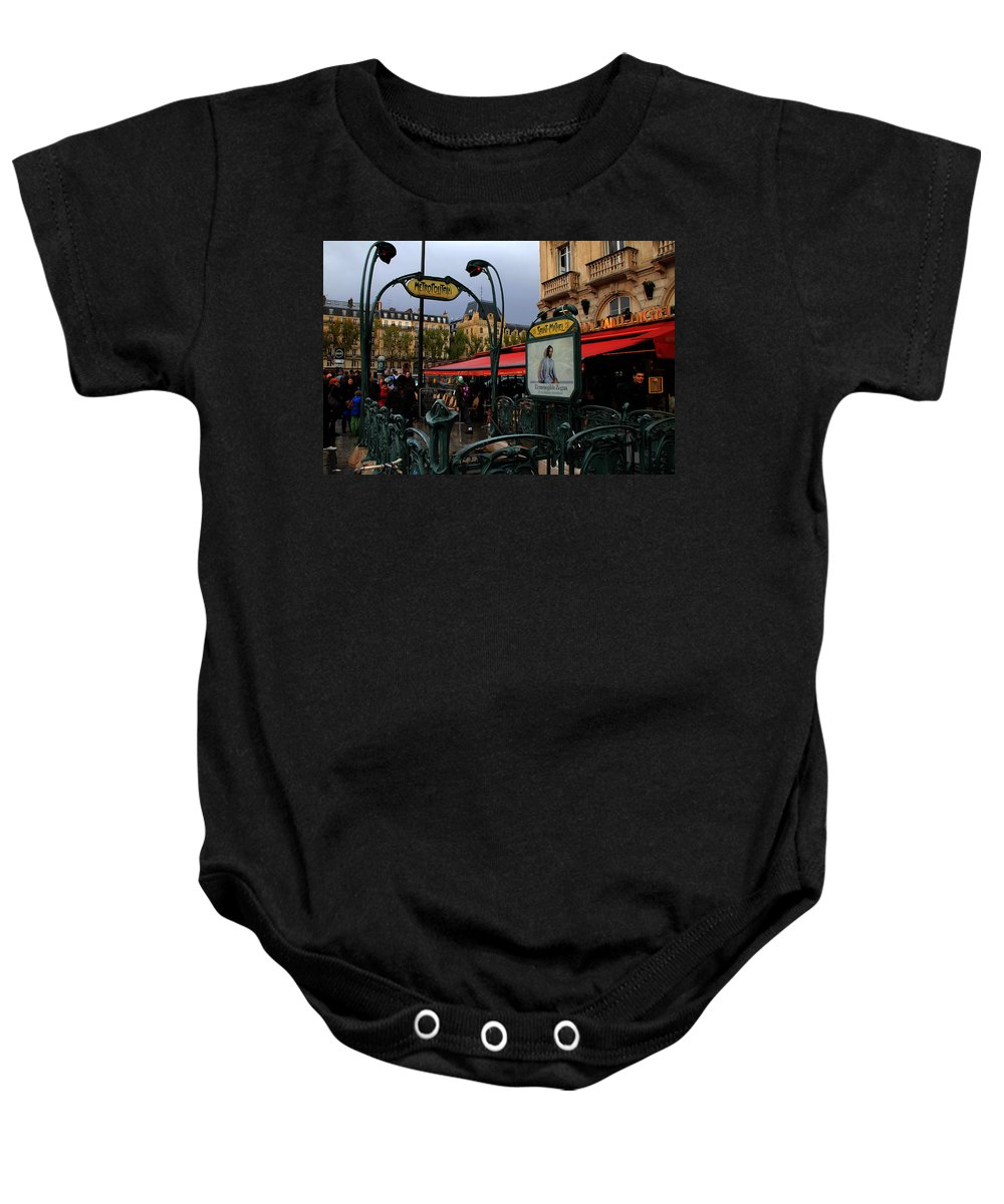 Paris Baby Onesie featuring the photograph Paris Metro 1 by Andrew Fare