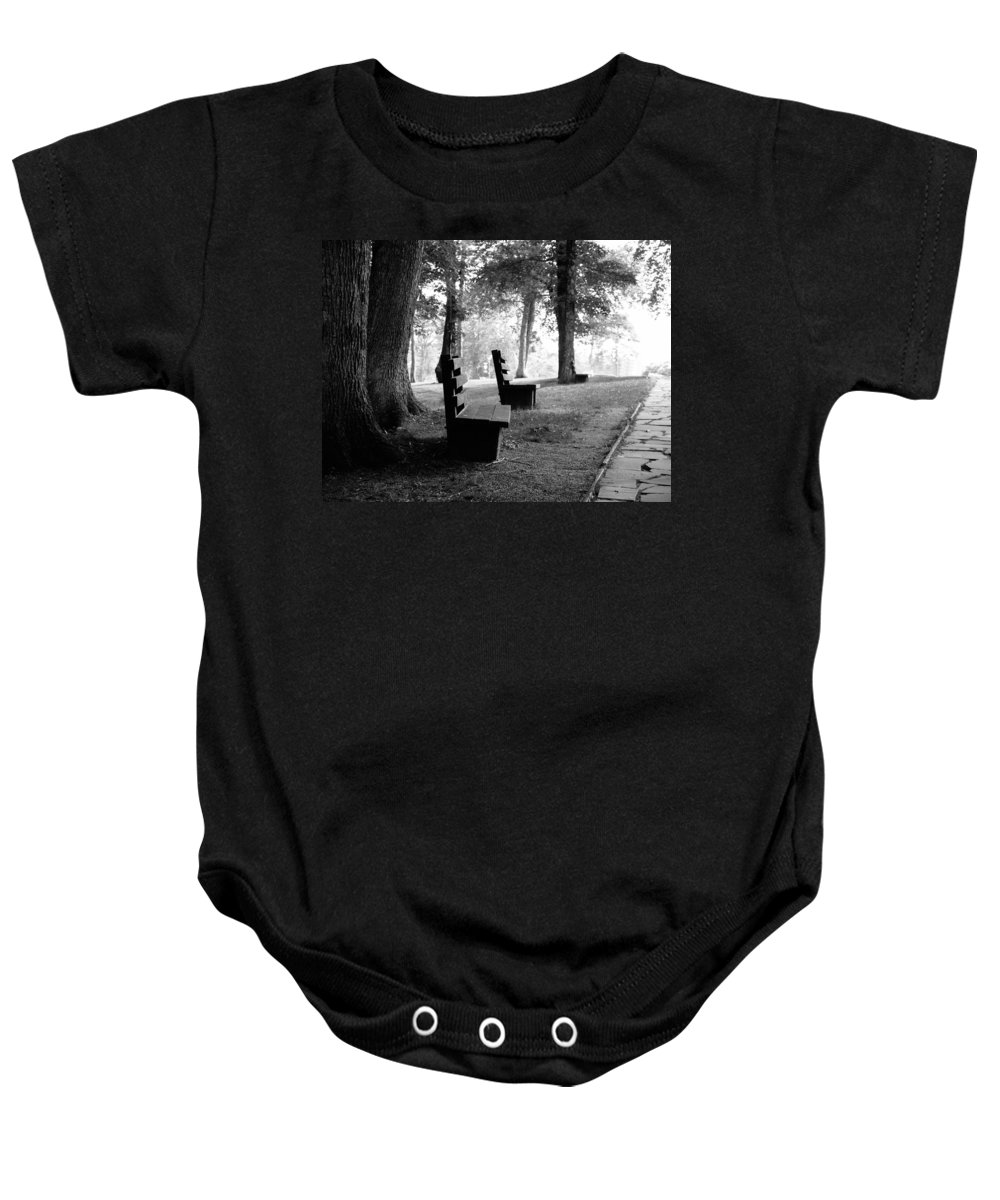 Black And White Baby Onesie featuring the photograph Park Bench In Black And White by Lj Lambert