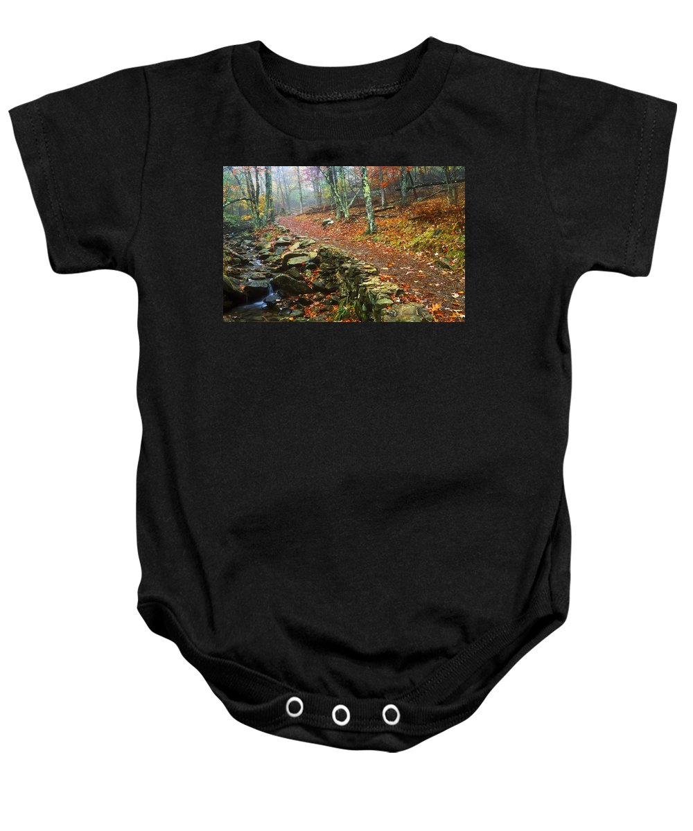 Body Of Water Baby Onesie featuring the photograph Path Through Forest, Shenandoah by Bilderbuch