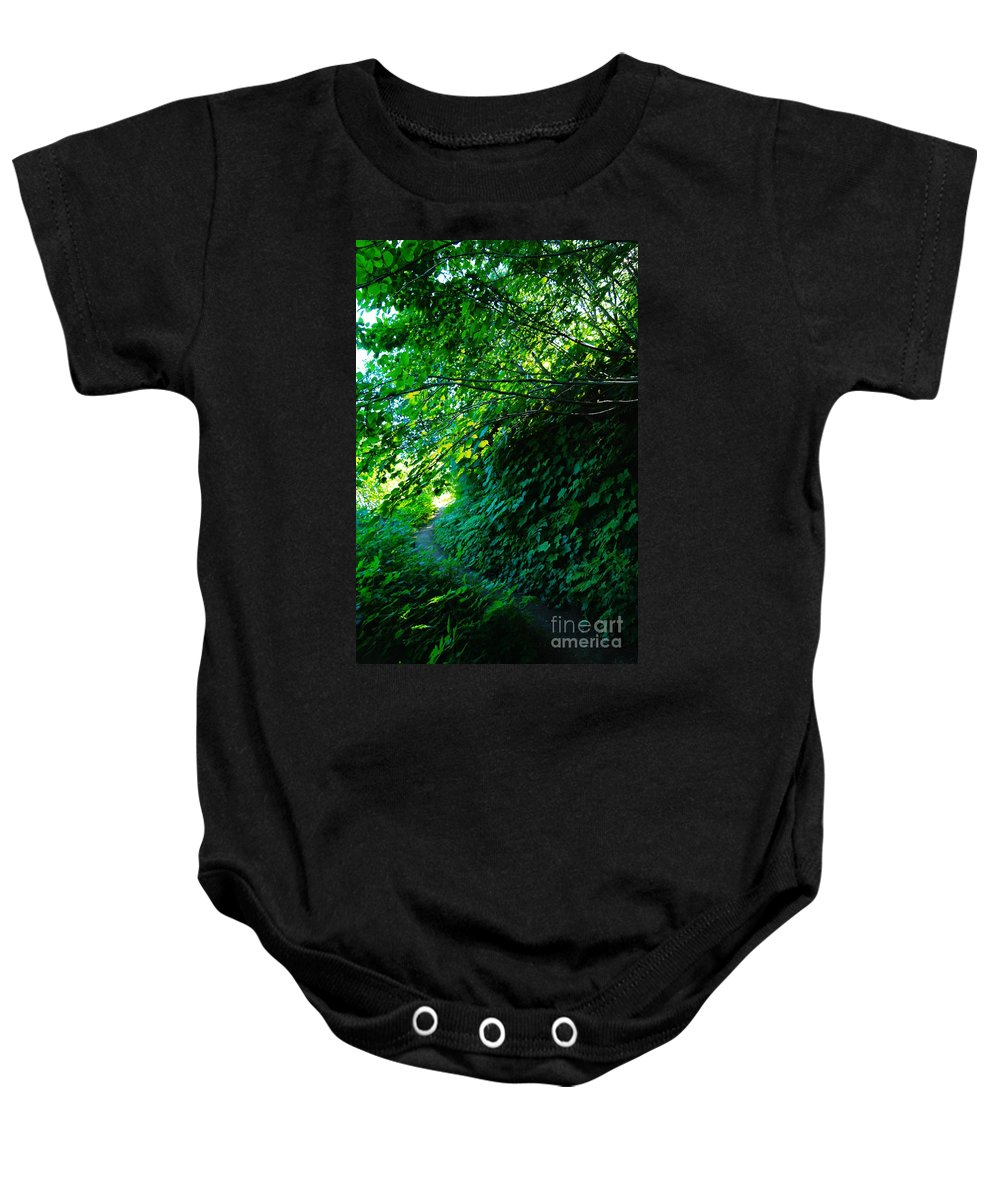 Leaves Baby Onesie featuring the photograph Pathway by Jeff Swan