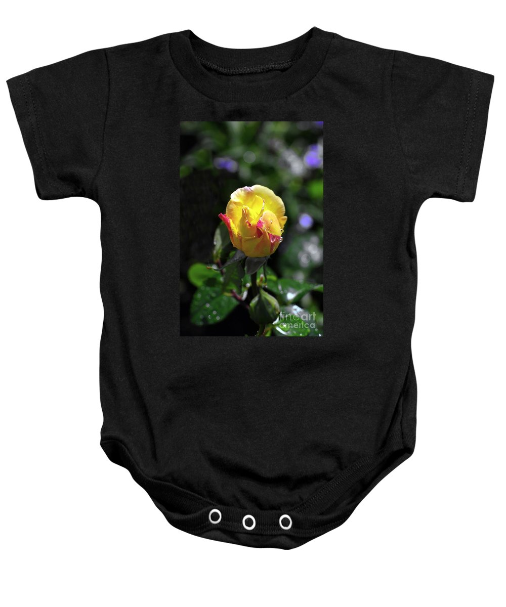 Peace Rose Baby Onesie featuring the photograph Peace Rose by John Chatterley