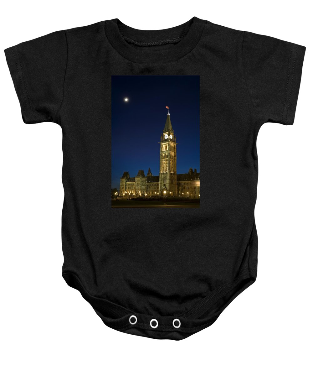 Architectural Exterior Baby Onesie featuring the photograph Peace Tower, Parliament Building by David Chapman