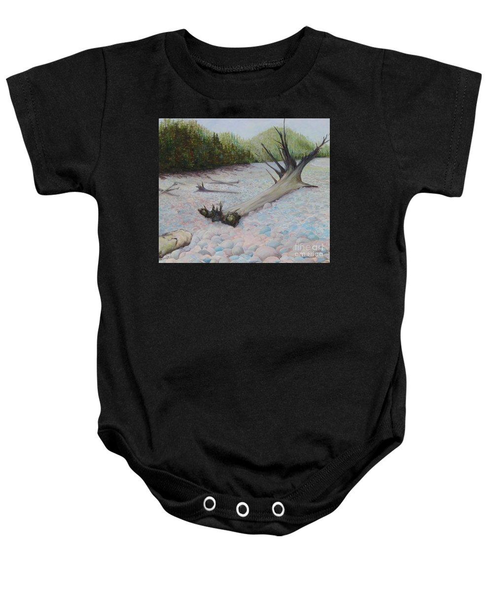 Marathon Baby Onesie featuring the painting Pebble Beach by Carleigh Duncan-Doyle