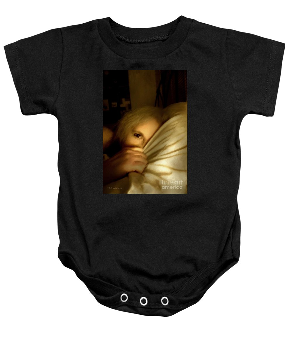 Woman Baby Onesie featuring the painting Peekaboo By Candlelight by RC DeWinter