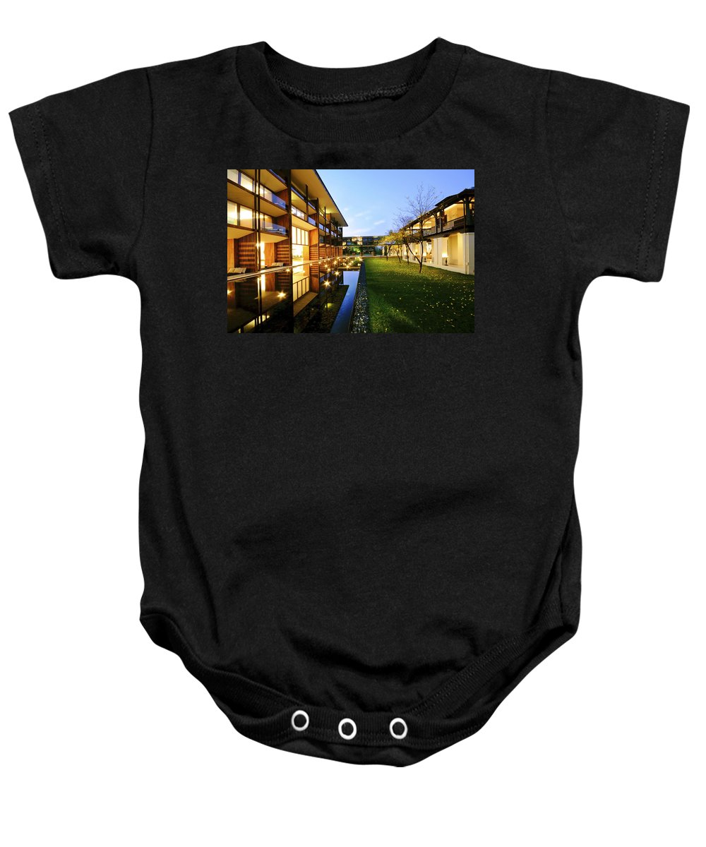 Resort Baby Onesie featuring the photograph Perspective Of Contemporary Architecture by Setsiri Silapasuwanchai