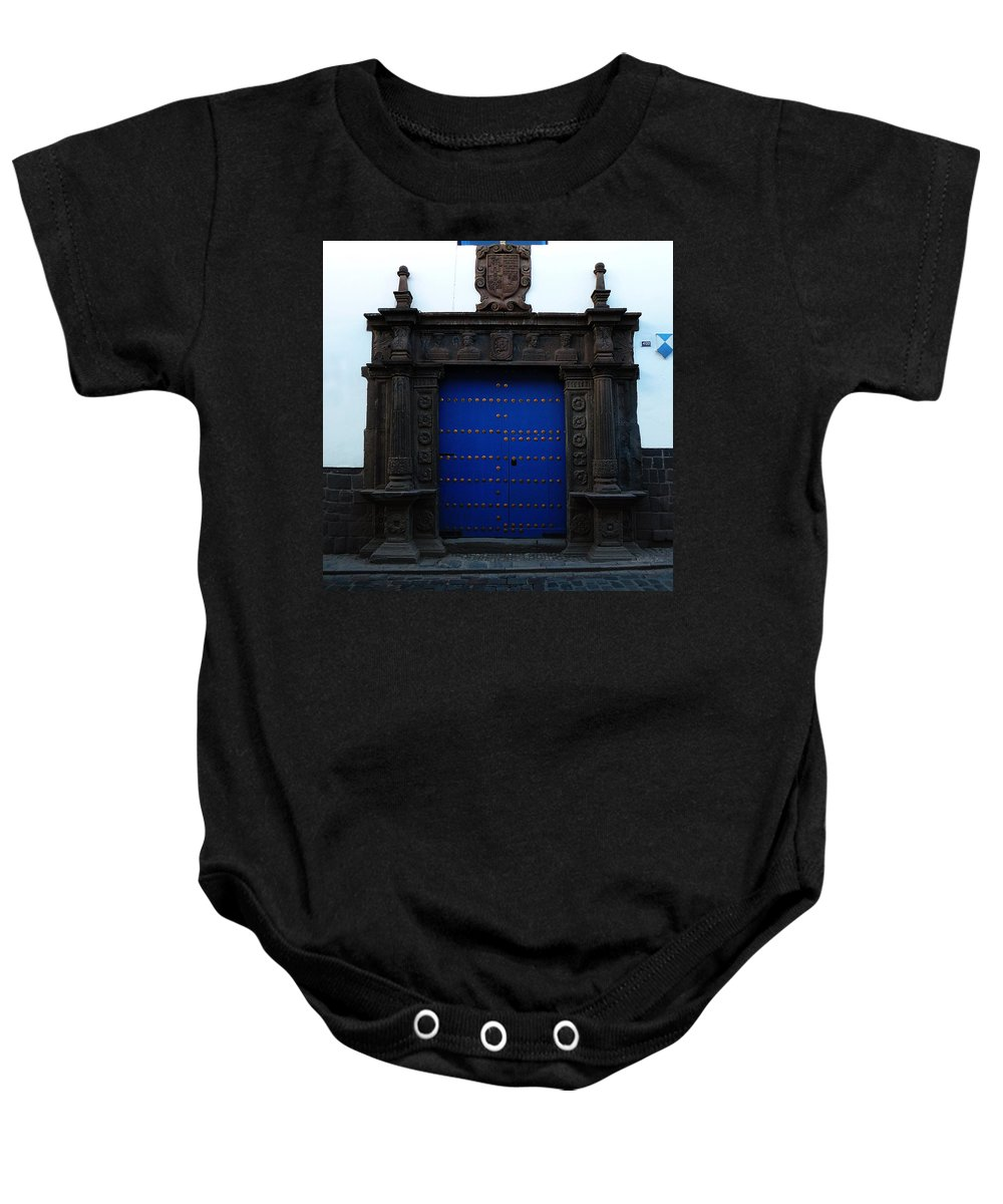 Door Baby Onesie featuring the photograph Peruvian Door Decor 12 by Xueling Zou