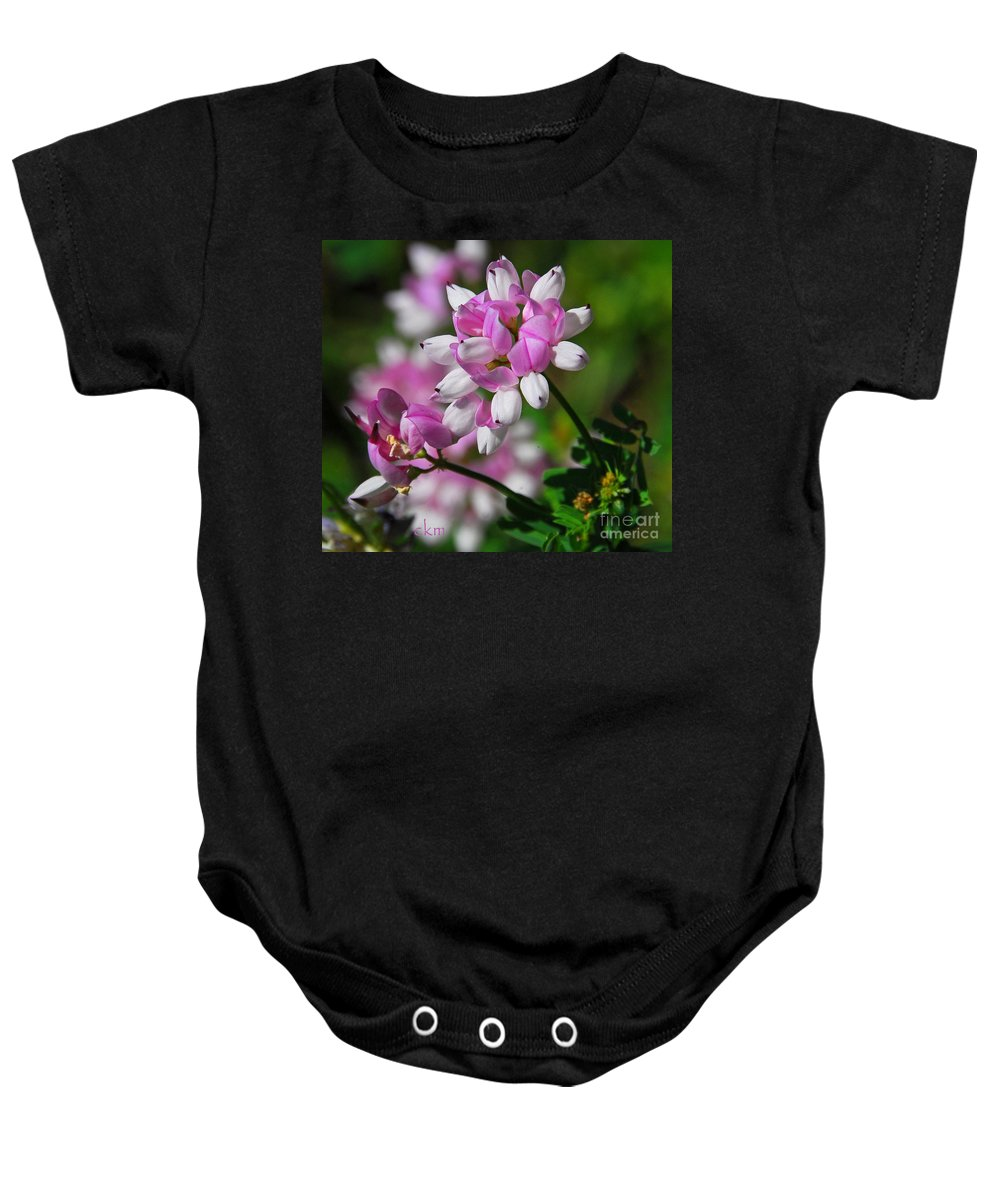 Floral Baby Onesie featuring the photograph Pink And White by Cindy Manero