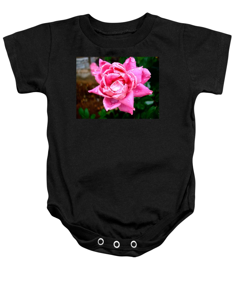 Rose Baby Onesie featuring the photograph Pink Double Knockout Rose by David G Paul