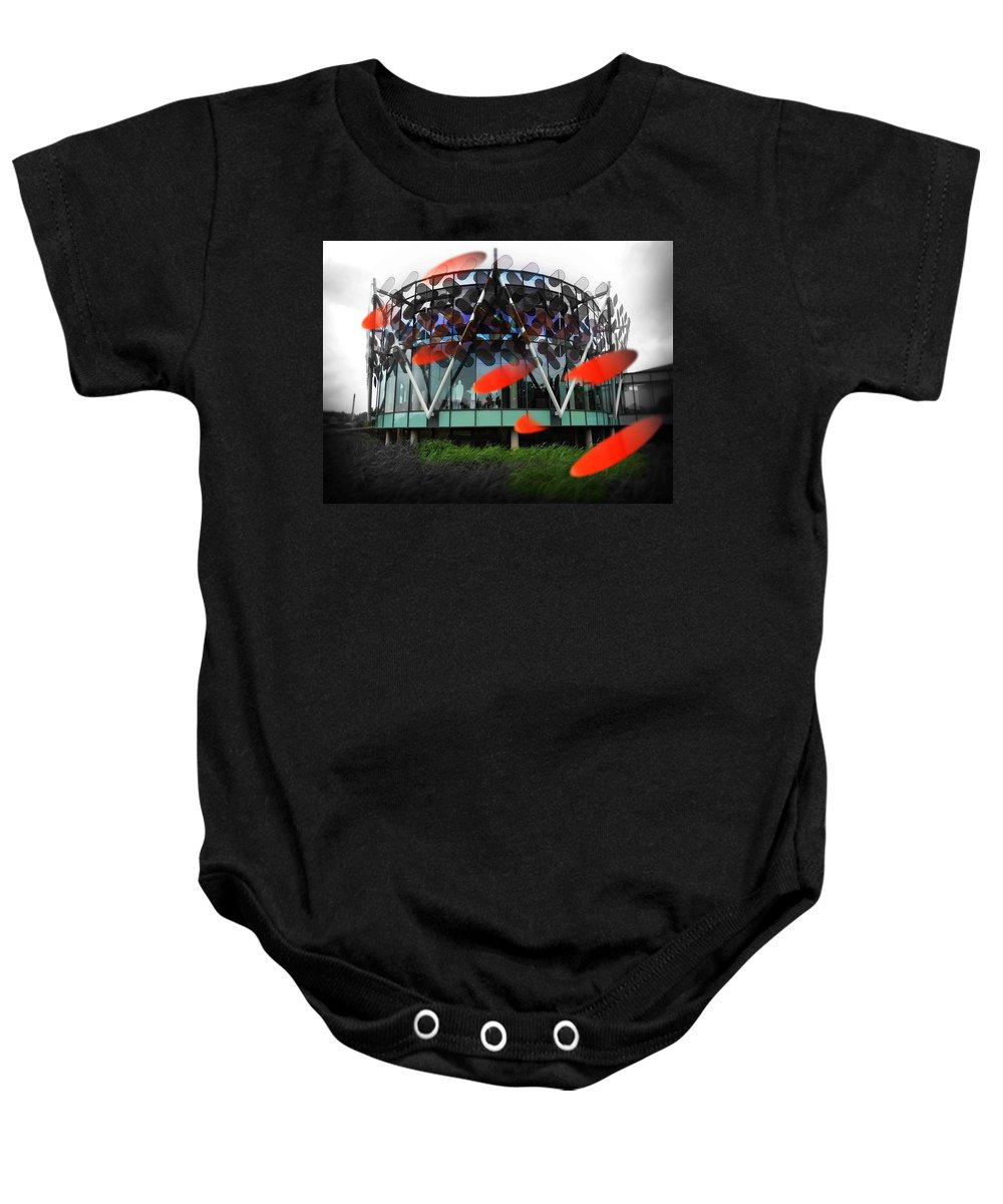 Architecture Baby Onesie featuring the photograph Pink Floyd Park by Charles Stuart
