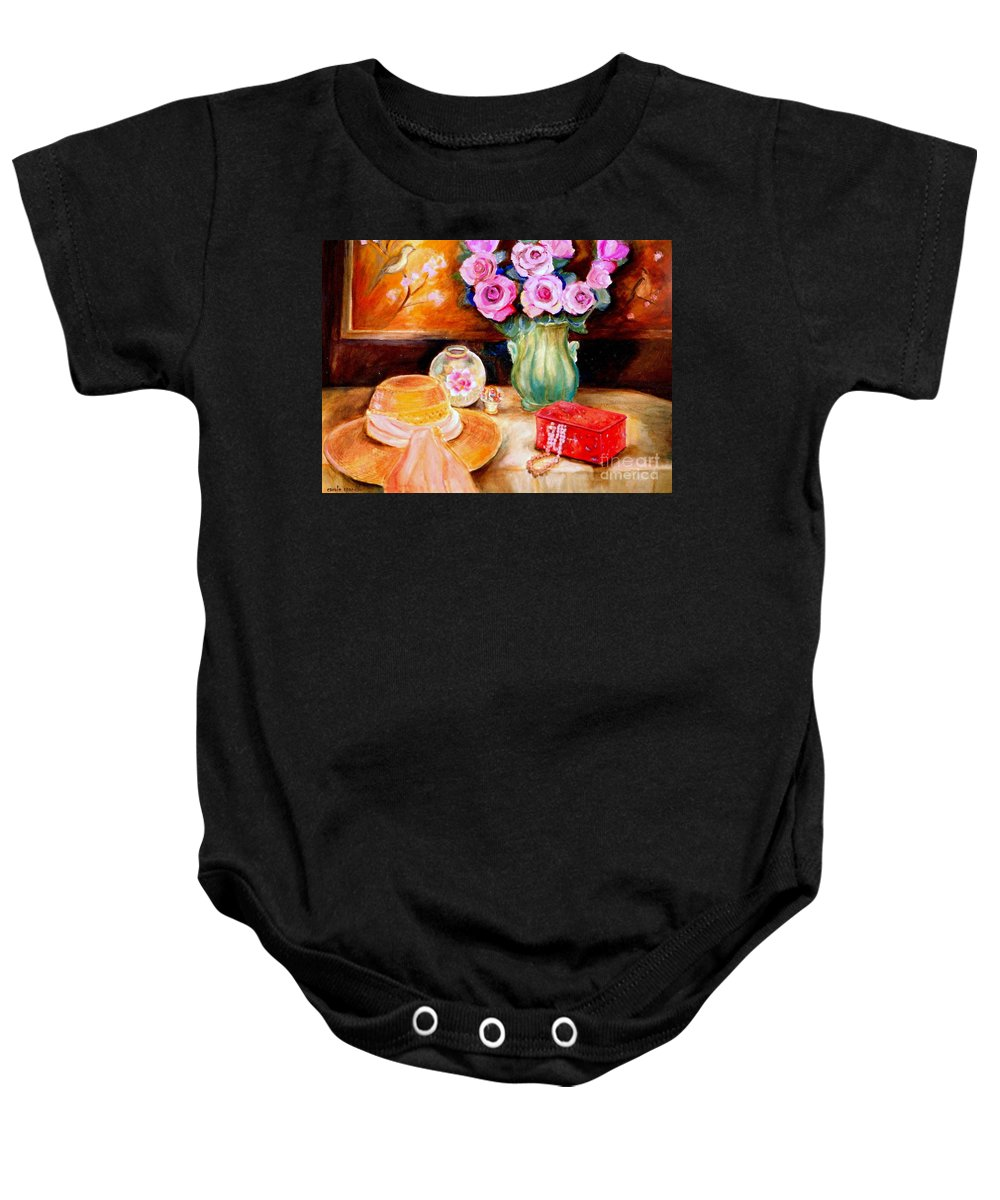 Baby Onesie featuring the painting Pink Roses In A Green Vase With A String Of Pearls And A Pretty Summer Straw Hat by Carole Spandau