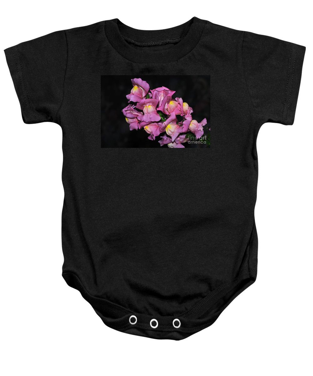 Photography Baby Onesie featuring the photograph Pink Snapdragons 2 by Kaye Menner