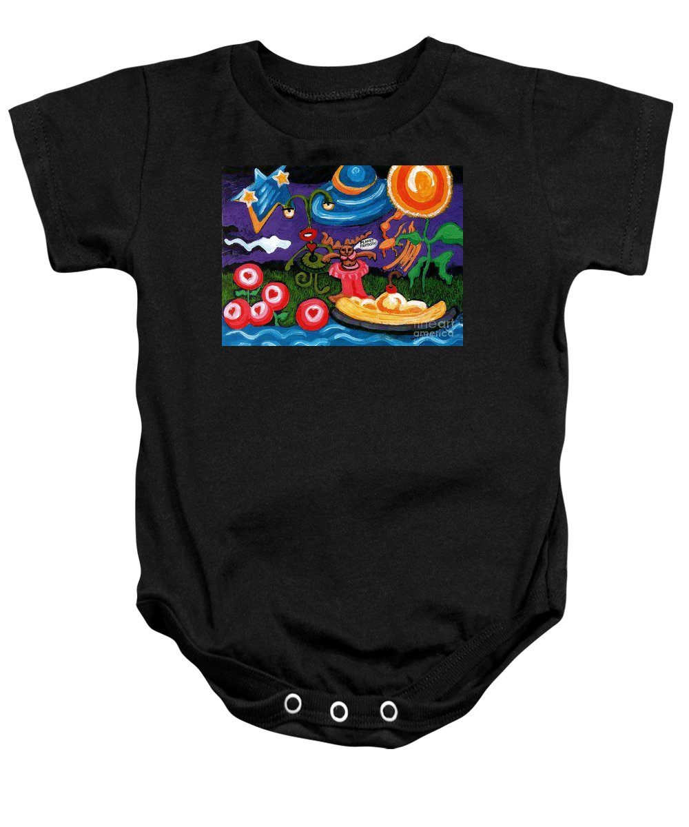 Planet Fantastic Baby Onesie featuring the painting Planet Fantastic by Genevieve Esson