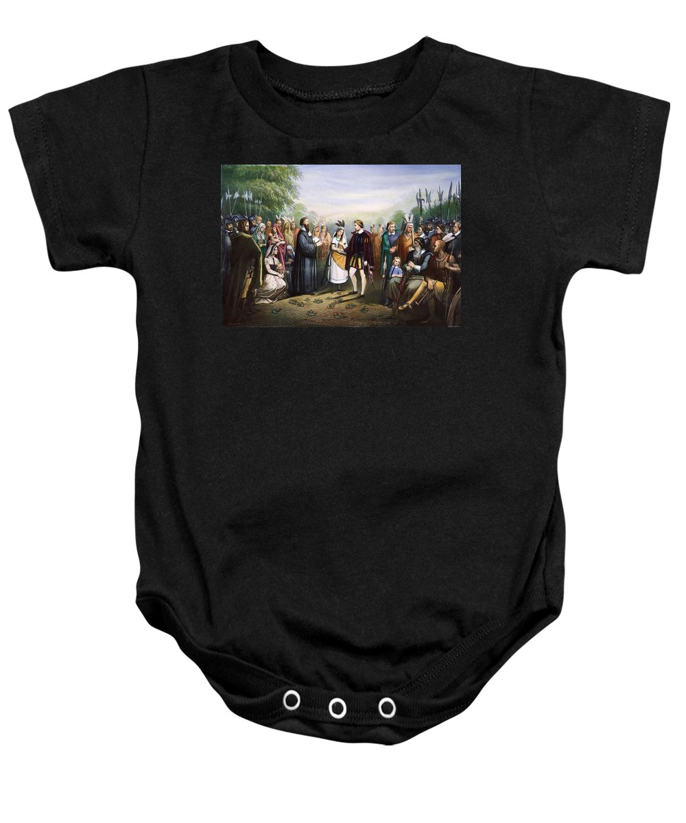 1614 Baby Onesie featuring the photograph Pocahontas & John Rolfe by Granger