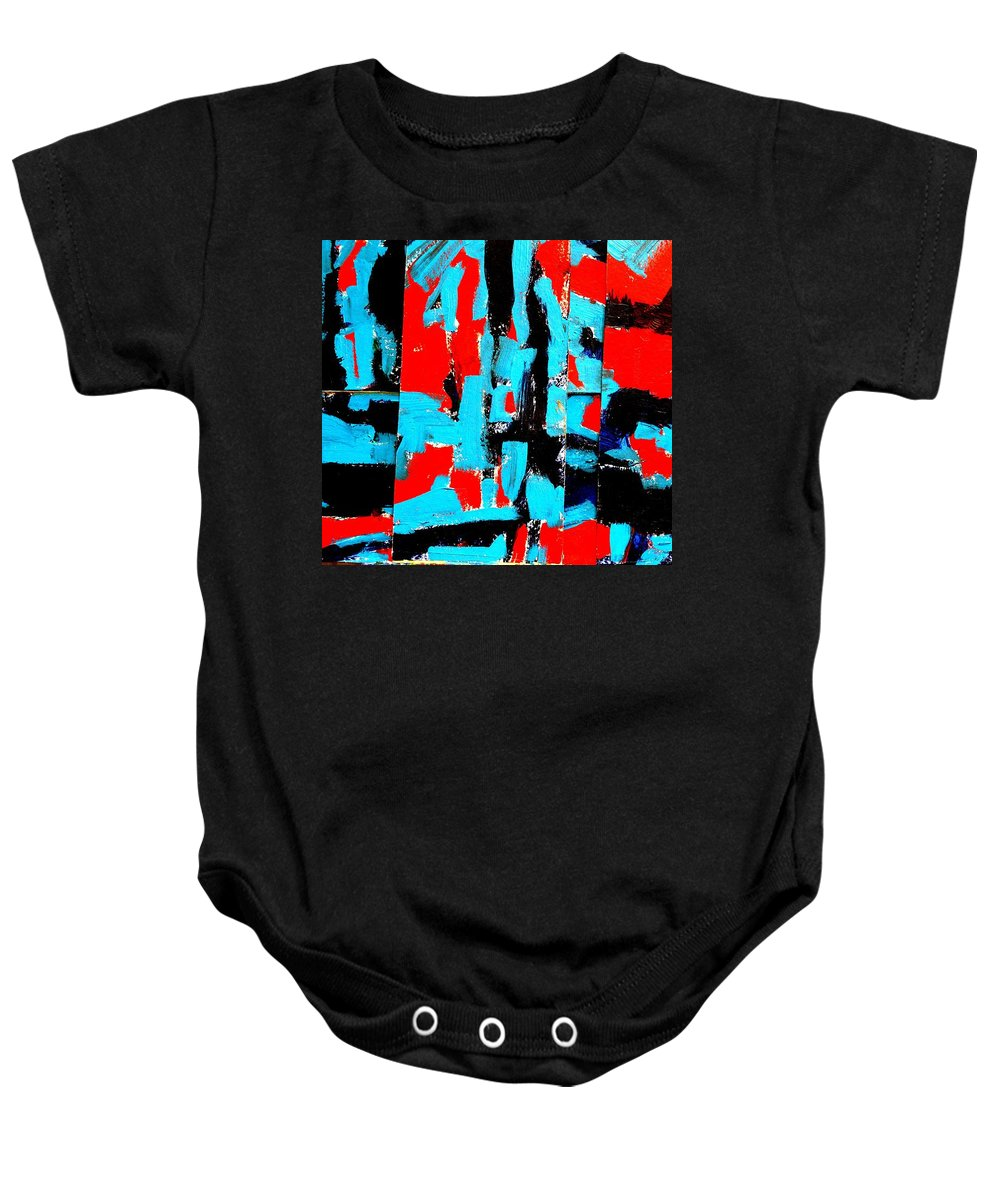 Abstract Baby Onesie featuring the painting Polyptych  II by John Nolan