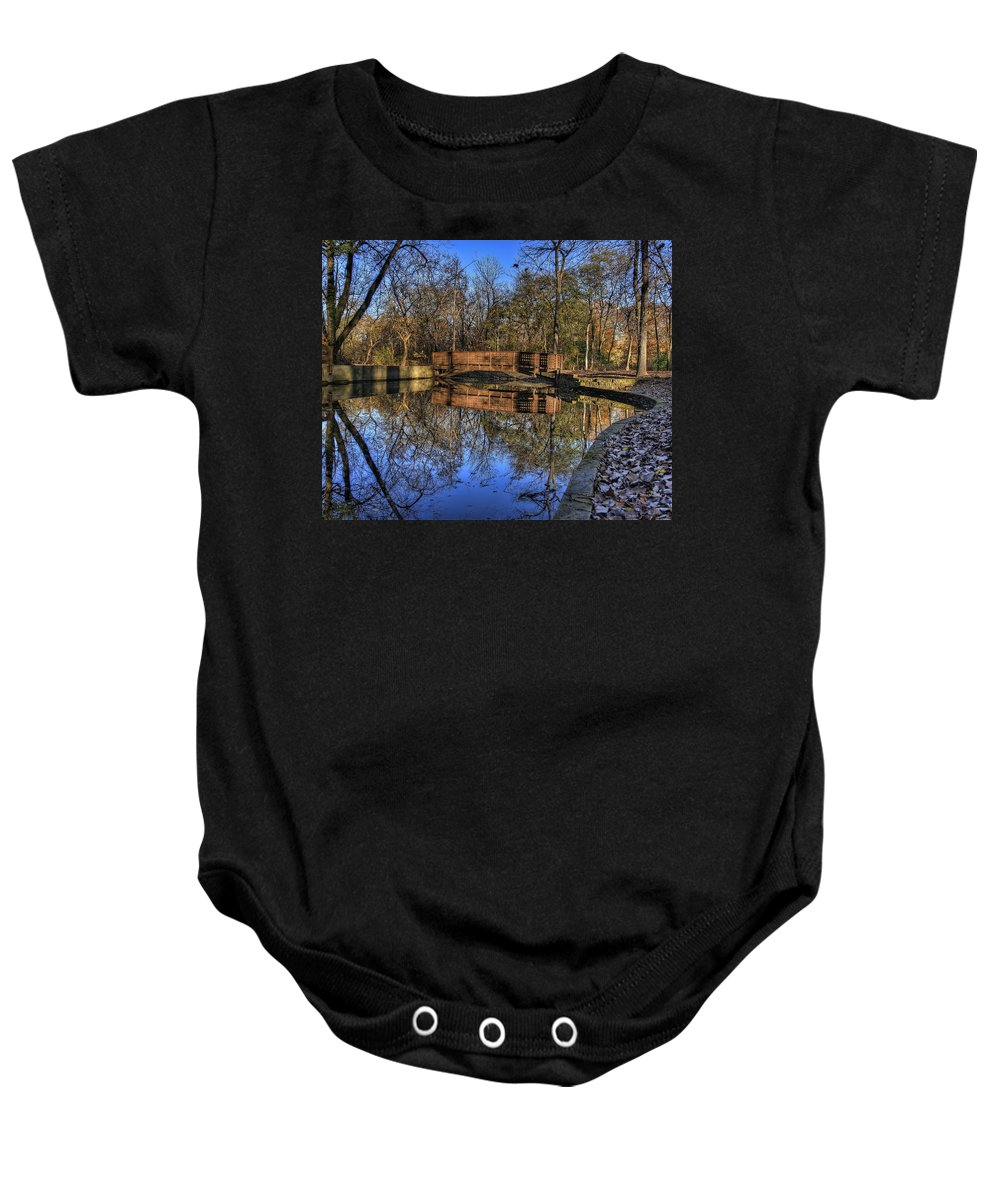 Bridge Baby Onesie featuring the photograph Pond Reflections by Scott Wood