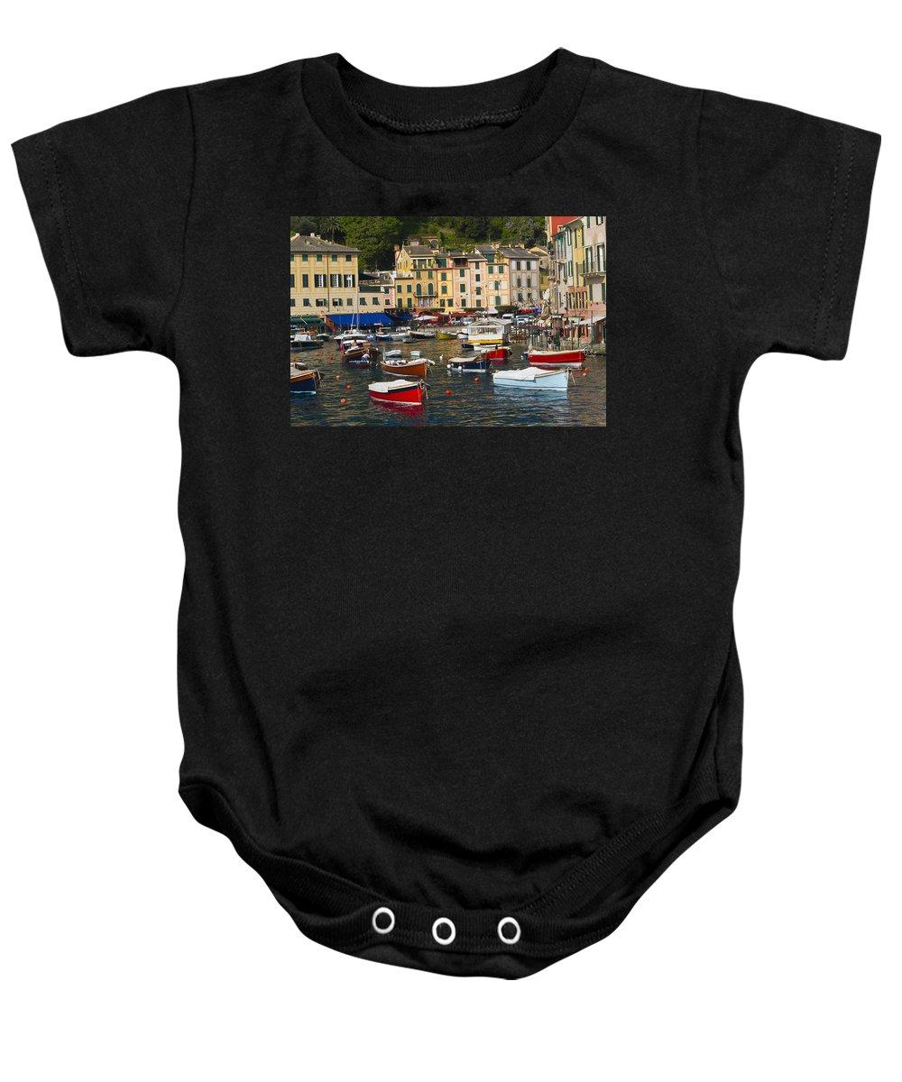 Portofino Baby Onesie featuring the photograph Portofino In The Italian Riviera In Liguria Italy by David Smith