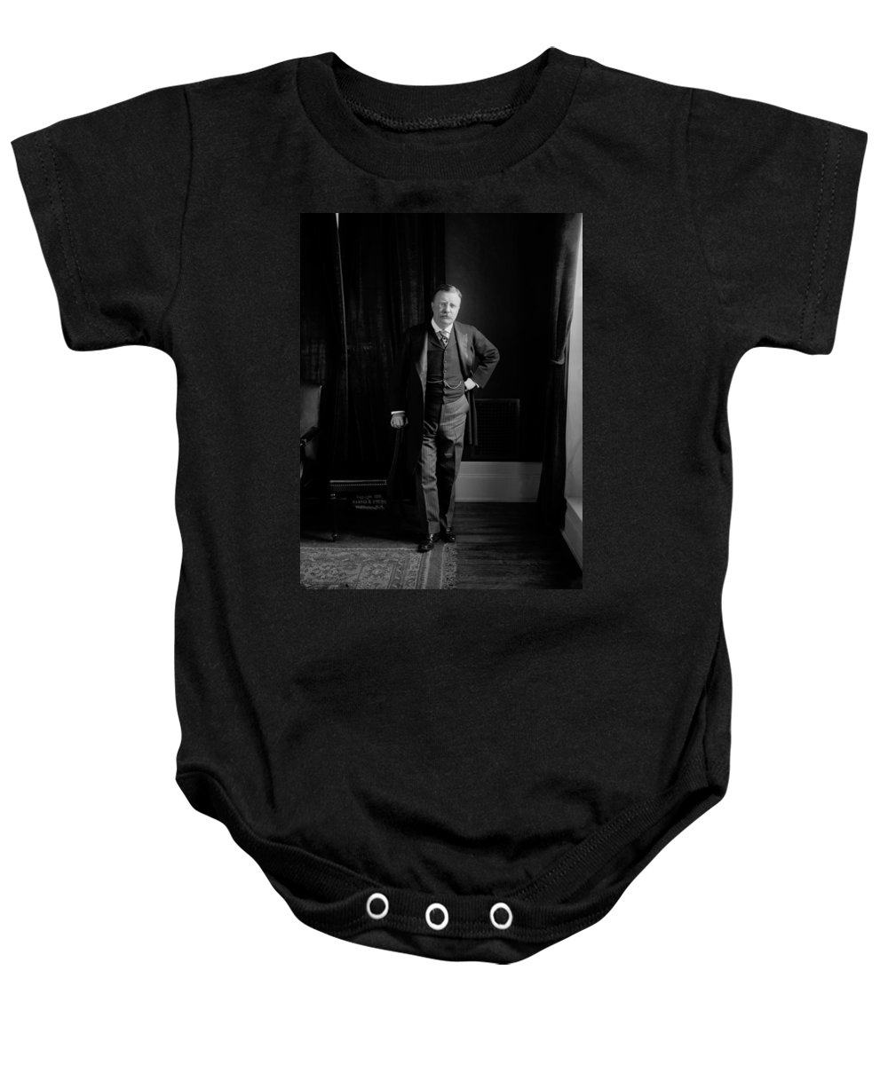 theodore Roosevelt Baby Onesie featuring the photograph President Theodore Roosevelt - Portrait by International Images